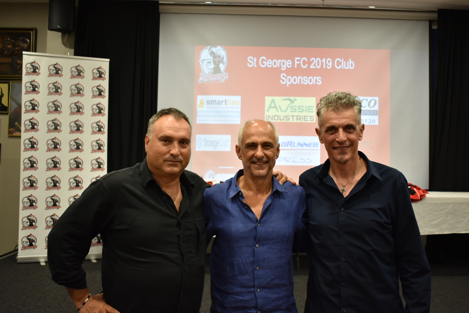 Jim Patikas, Wally Savor and Spiros Oikonomopoulos at the St George season launch.JPG
