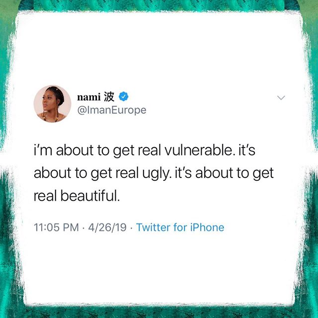 everything i learned about vulnerability is wrong. i thought it was weakness, turns out it's strength. i thought it was cower, turns out it's courage. because to be able to say 'this is who i am' or 'this is where i am' or 'this is what i believe' in this unsolicited over-opinionated world, that takes a lot of guts. that takes a heart of a leader and a soldier, a mind of a teacher and a student. @brenebrown said 'you can measure someone's bravery by how vulnerable they are willing to be.' her netflix special 'call to courage' has completely shifted my perspective. i encourage you to go watch it for yourself & practice being/expressing your full self today. love y'all. 💓 •• #imaneurope #vulnerability #brenebrown