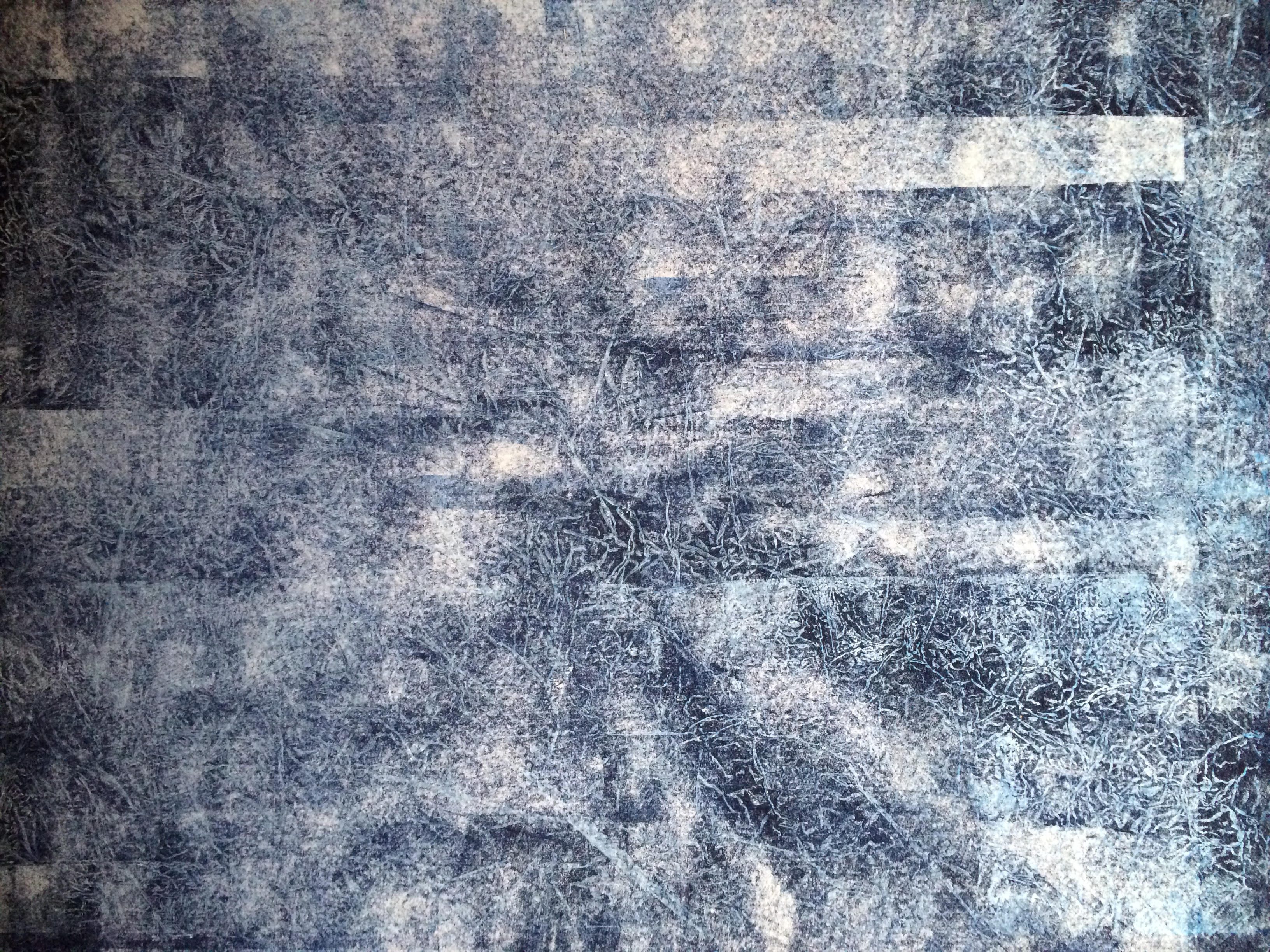 Untitled Blue 3.  2014. woodcut, rubber and metal relief on Japanese paper. 39 in x 26 in