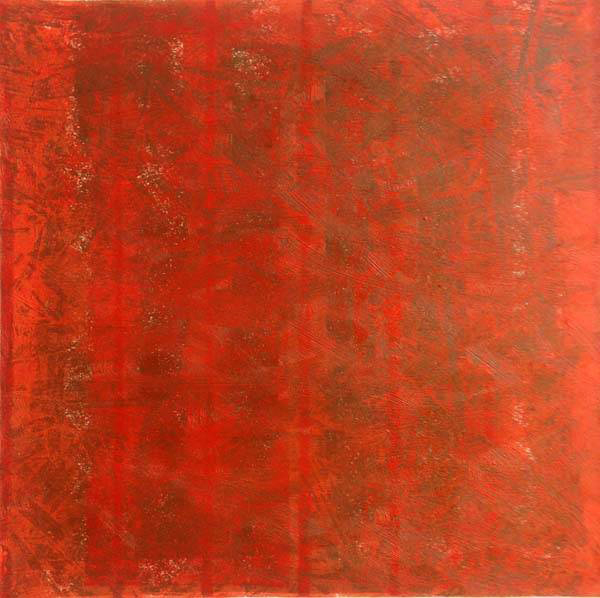 Elmhurst Color Study Red 1. 2014. Relief print with oil paint. 12in x 12in