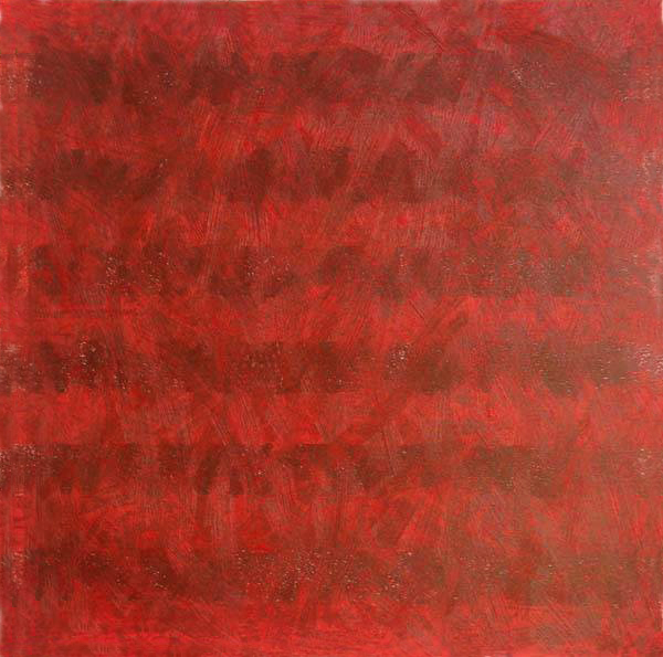 Elmhurst Color Study Red 2. 2014. Relief print with oil paint. 12in x 12in
