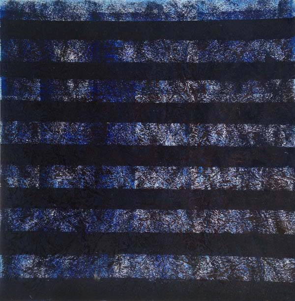 Elmhurst Color Study Blue 1. 2014. Relief print with oil paint. 12in x 12in