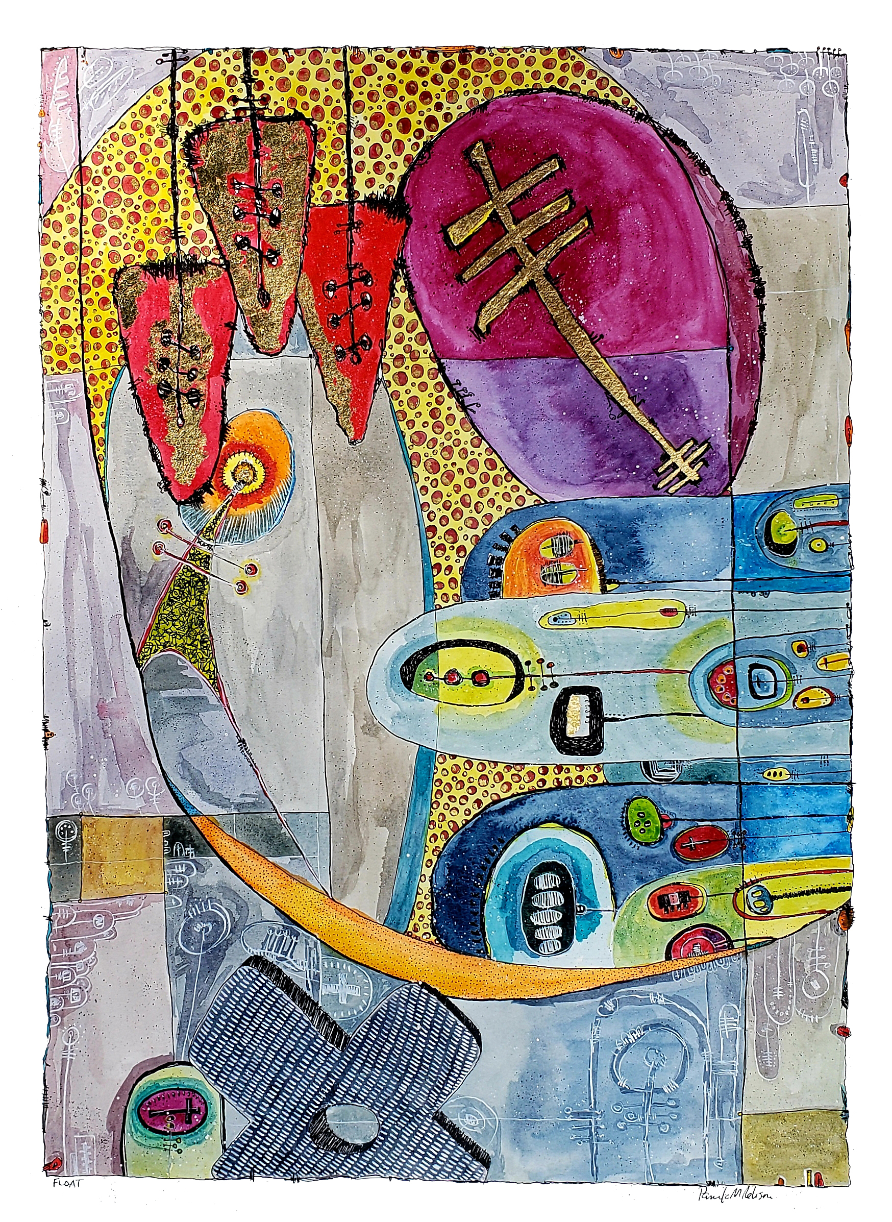 """- FloatA rich and colorful piece with lots of detail, several layers, and different perspectives.Mixed Media:WatercolorPen and InkGold Leaf13"""" x 18"""""""