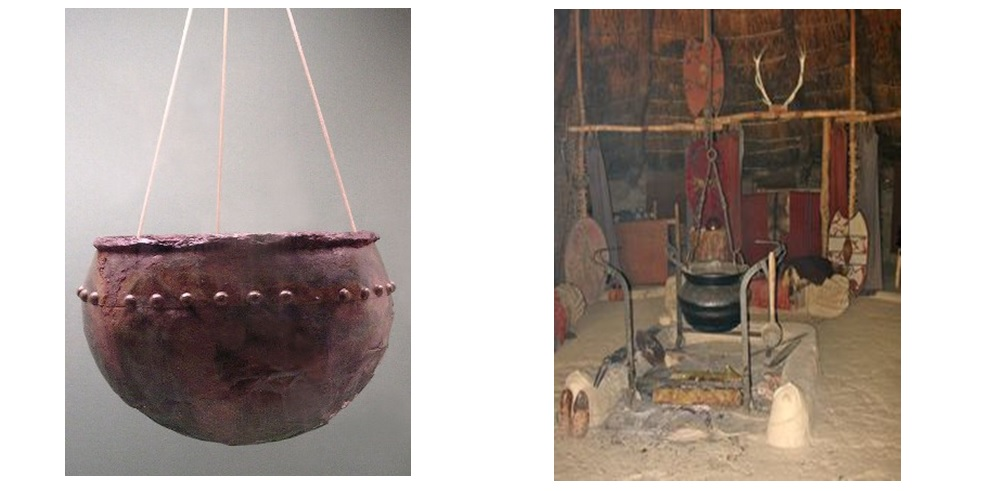 Left:  Bronze Cauldron.  Right:  Example of a Cauldron Hanging over a spit fire