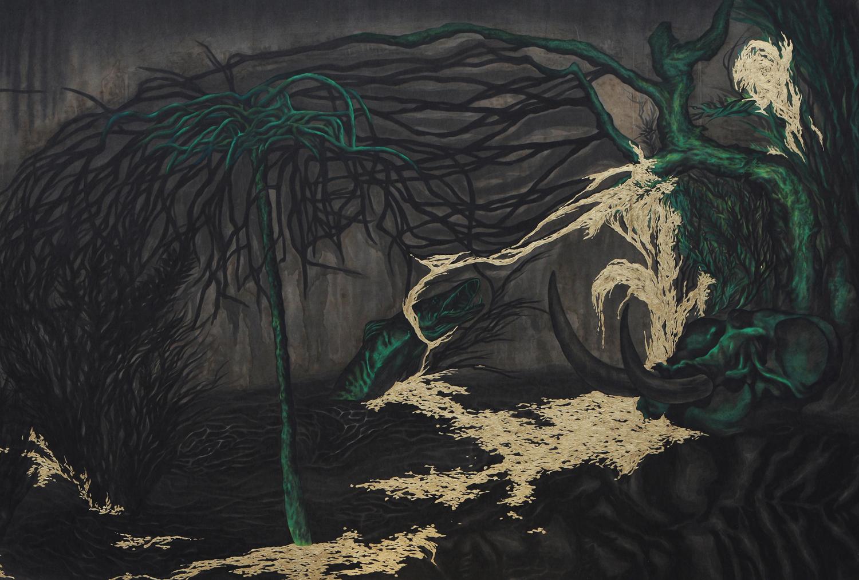 죽은 나무 한 그루를 물에 심었다