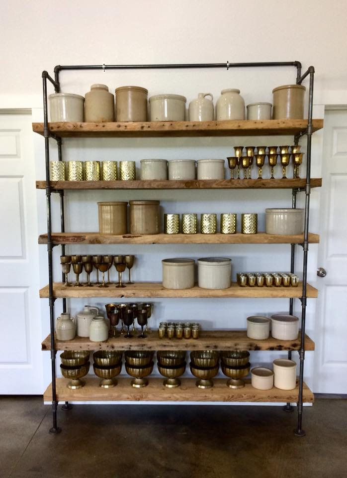 The start of the Redwing Crock collection…along with some other fabulous pieces available to rent. Shout out to my husband who made the shelving unit for me…LOVE IT!