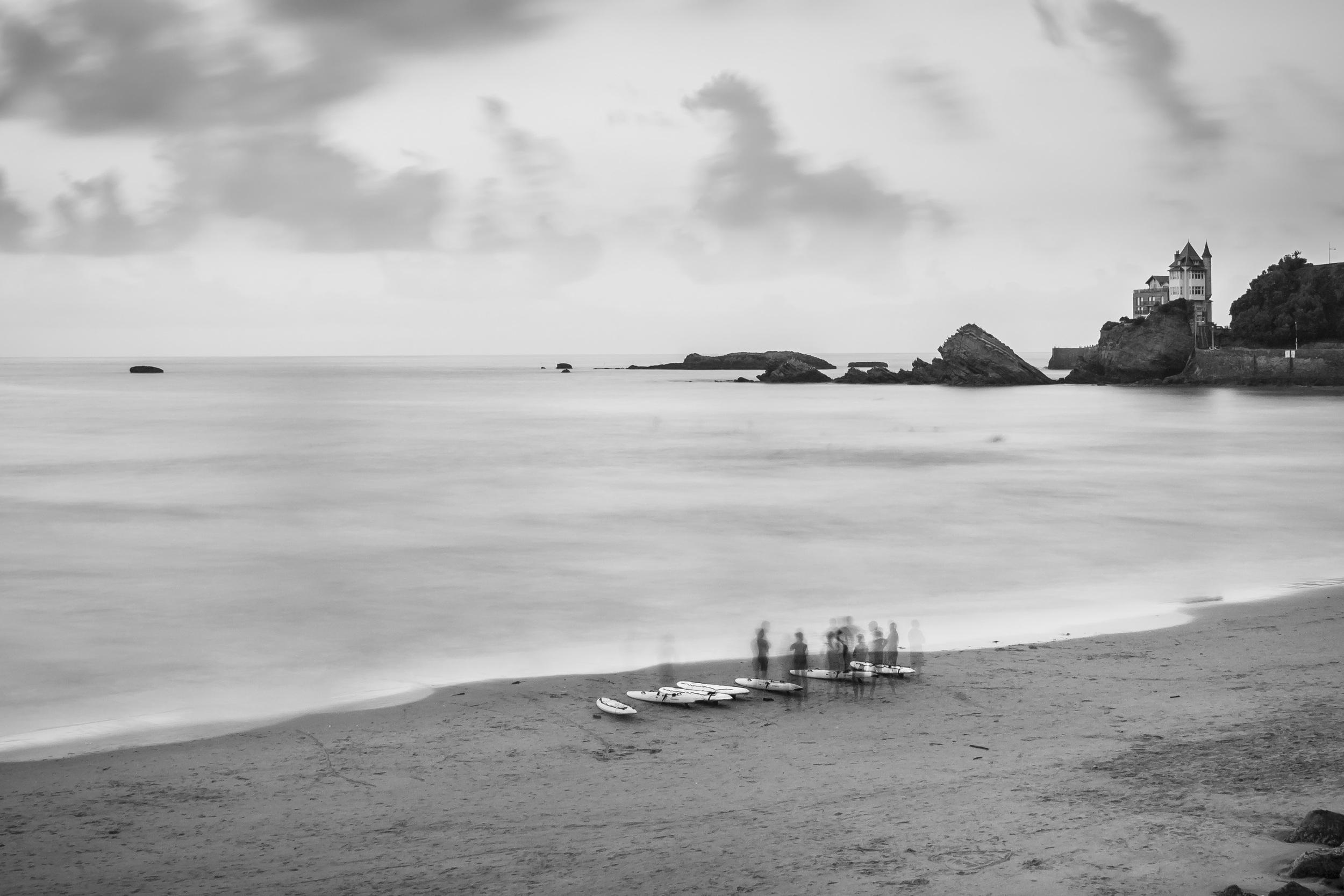 Surfers in Biarritz.