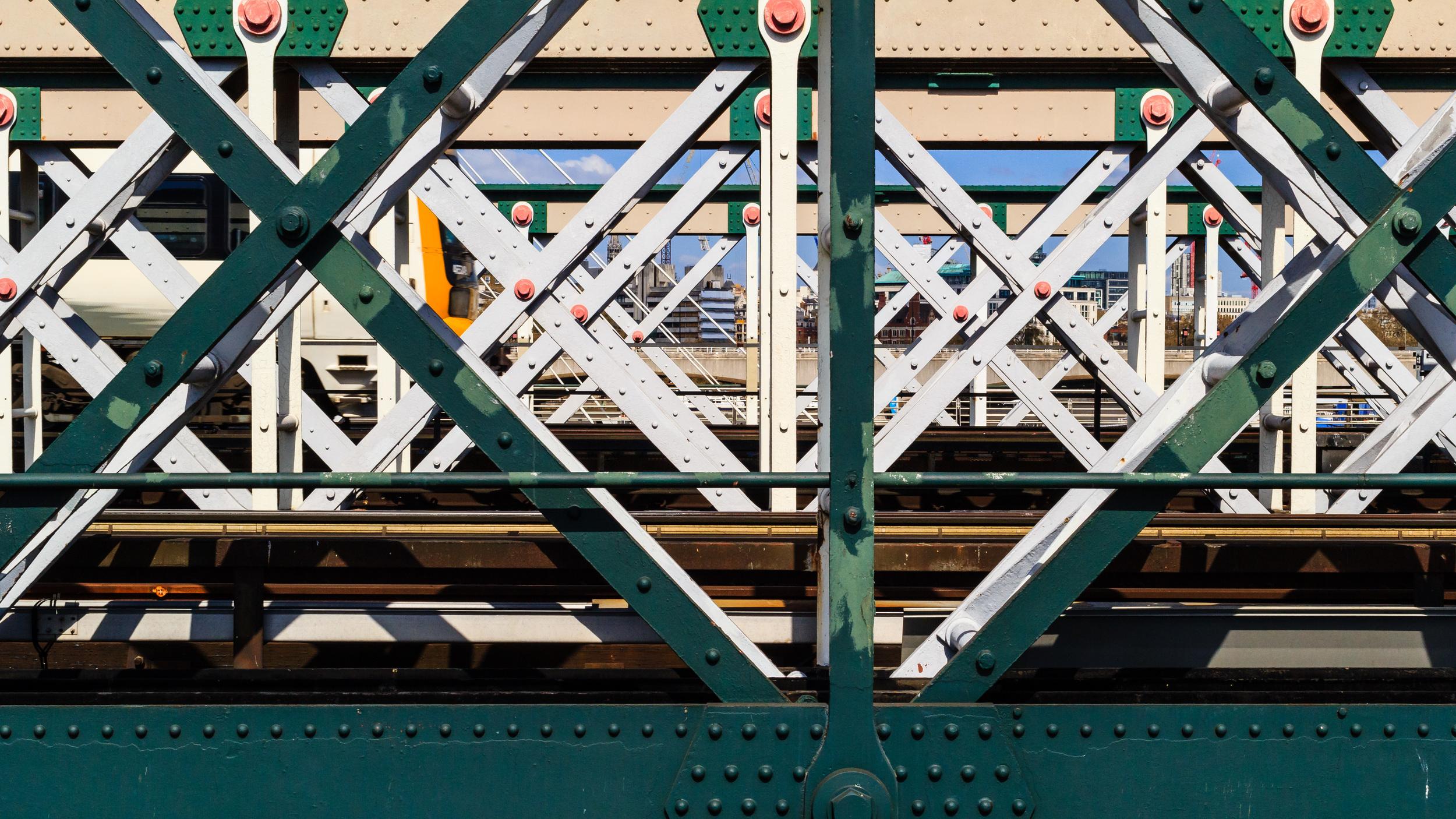 A train and a bridge. London.