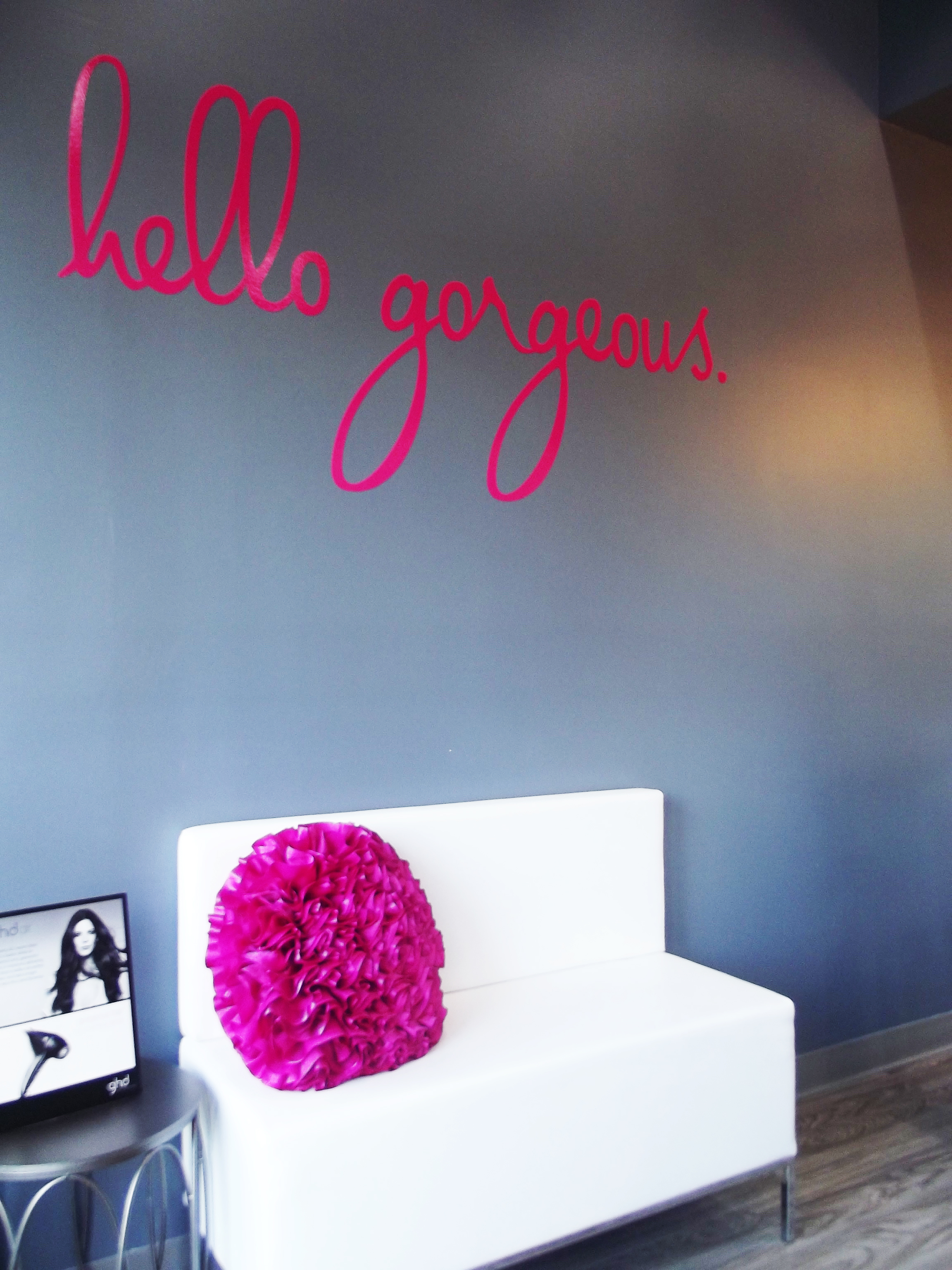 A view of the lobby area. Everything looked so clean with pops of pink everywhere!