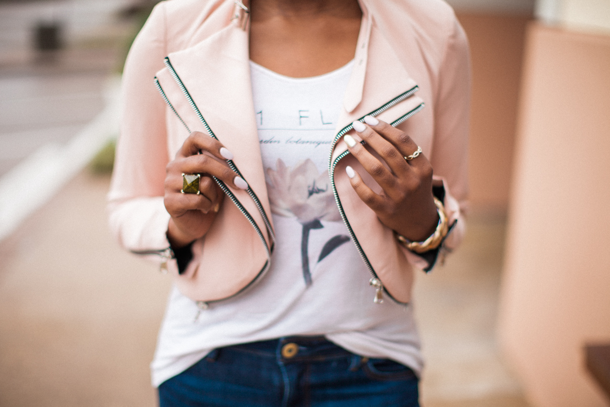 I picked out this super cute  Laurel moto jacket  -- blush is huge this season + I love adding to my jacket collection!