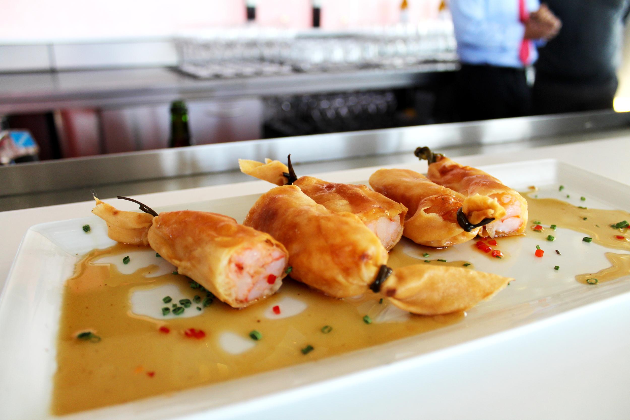 Crispy shrimp and lobster spring rolls.