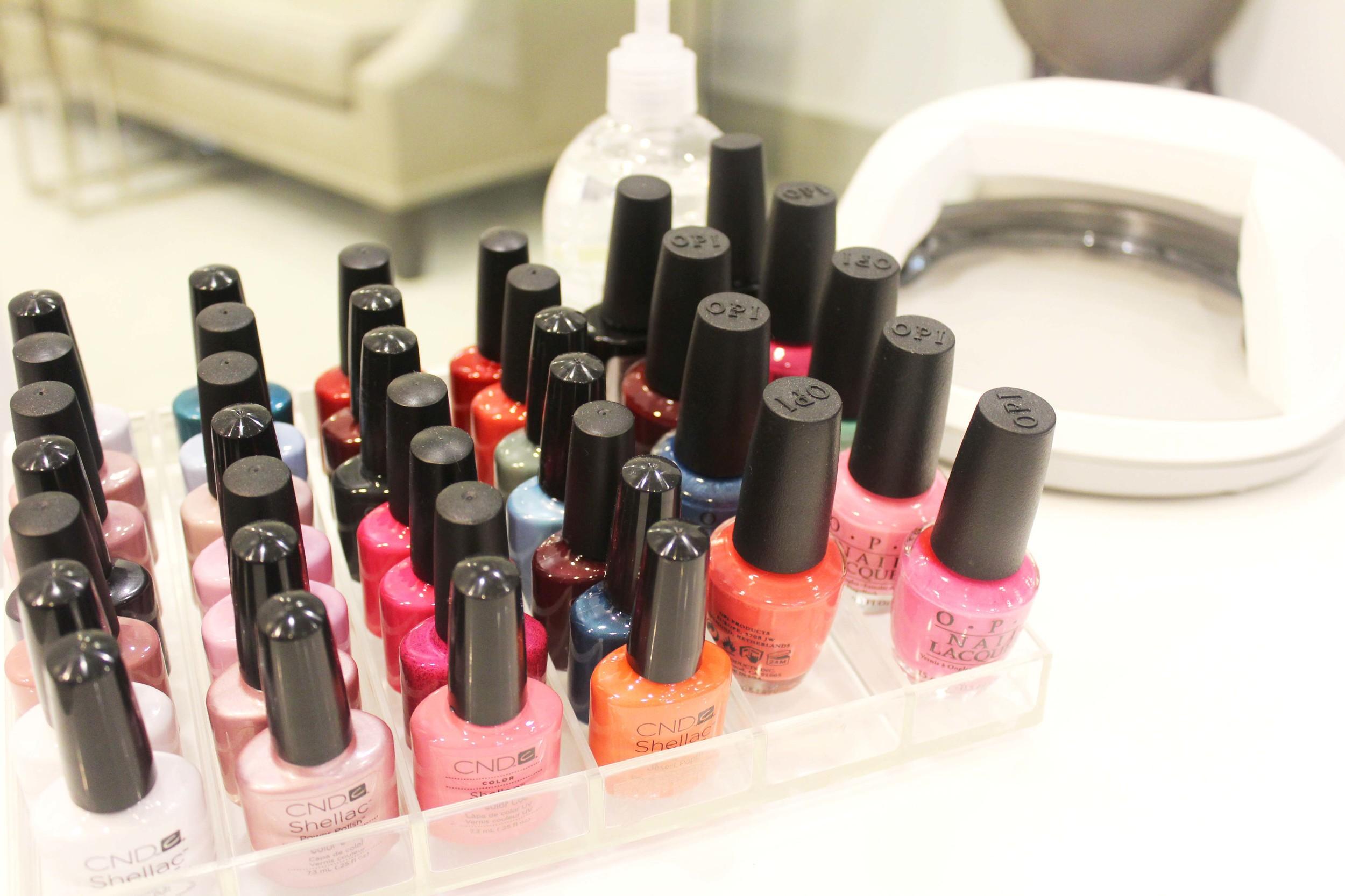 So many gel and regular nail polish options.