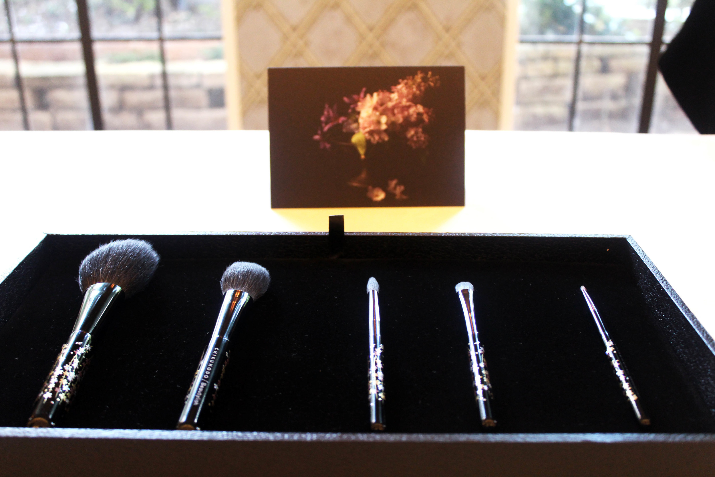 The Chikuhodo Sakura Collection -- five brush set complete with two face and three eye brushes.