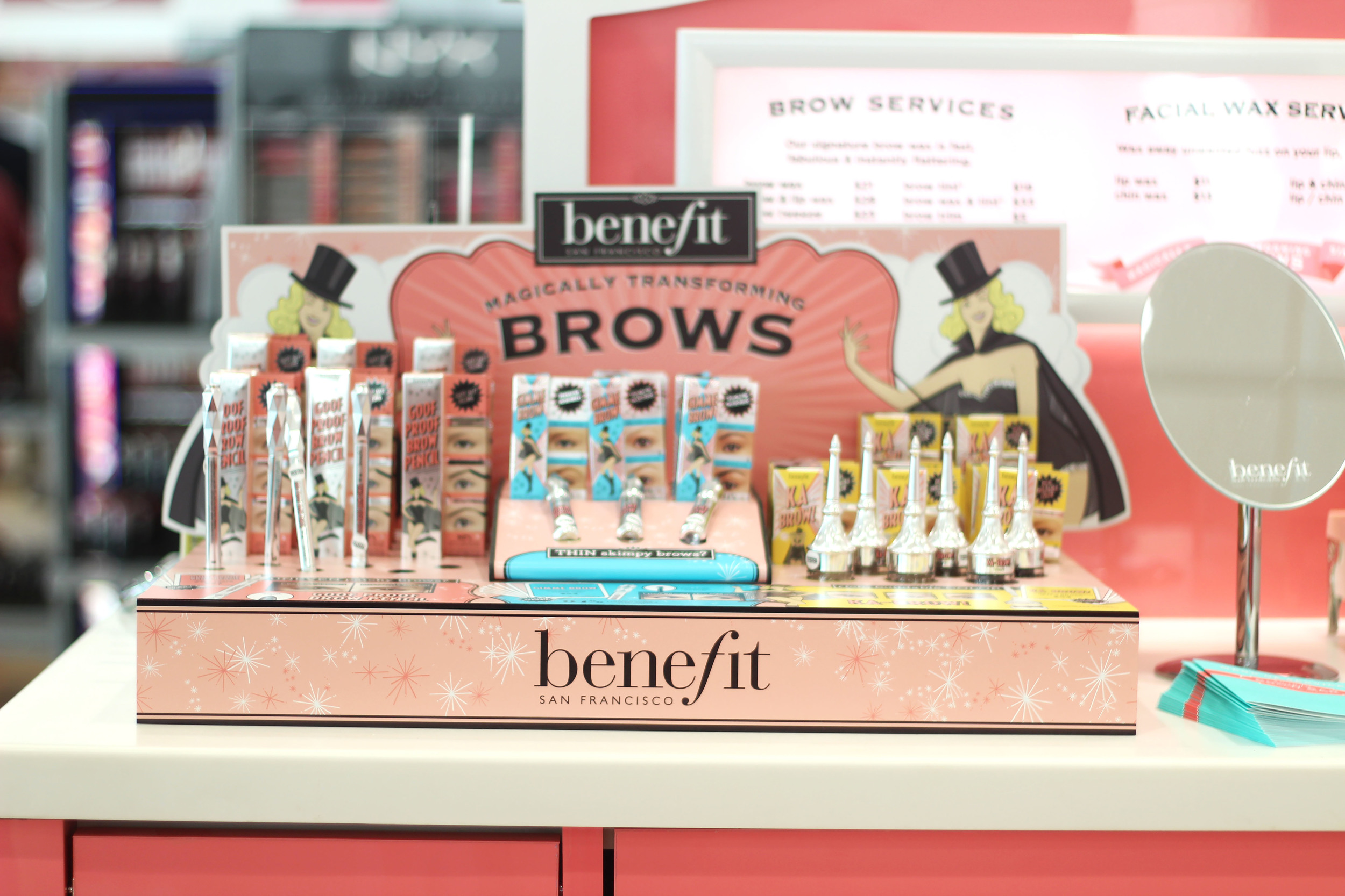 Benefit brow products that are used during the services offered.