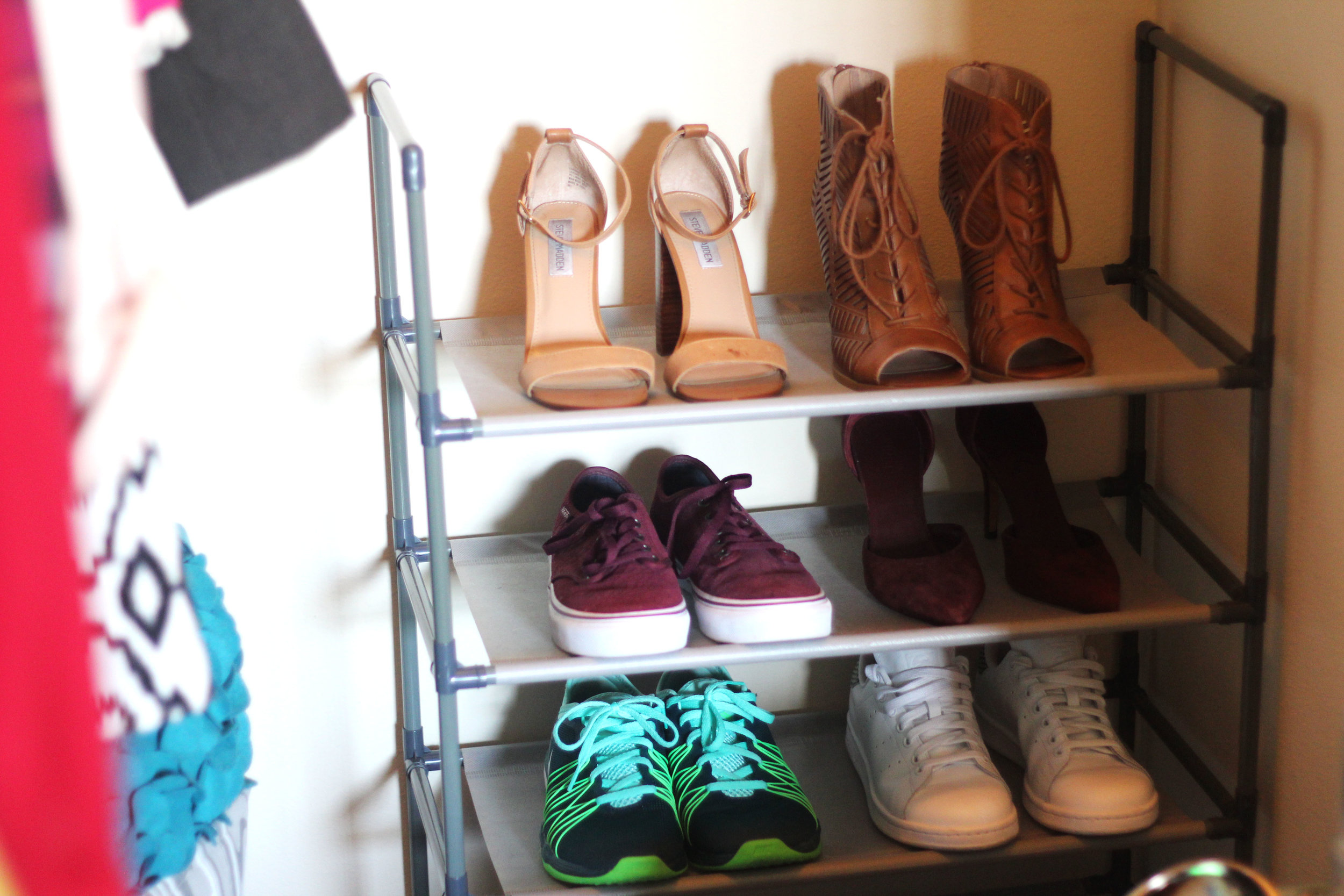 My favorite shoes that get worn the most on a  5-tier shoe rack ($17.99)
