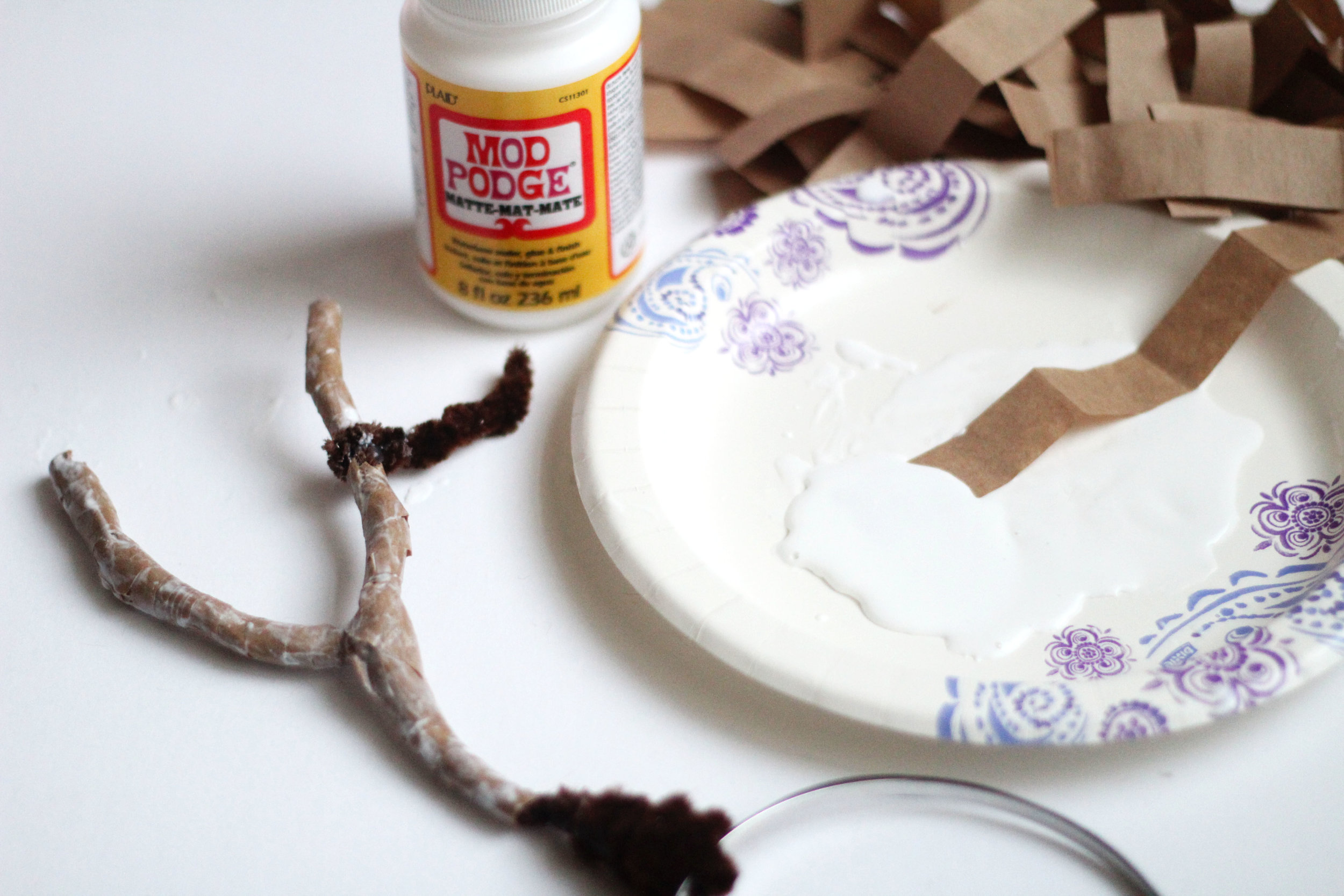 Pour matte Mod Podge onto a paper plate. Do not pour all of it as it will solidify as it is handled. Fully dip each paper strip into the Mod Podge.Begin wrapping the pipe cleaner foundation until antlers are completely covered.