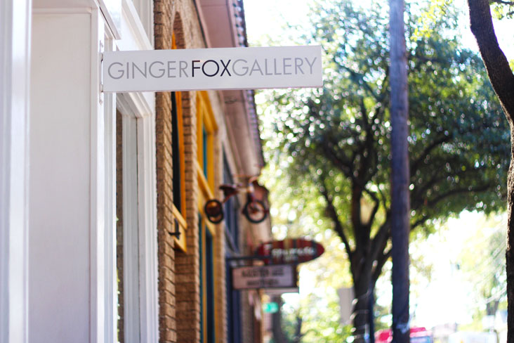 Signage of boutiques and galleries in the Bishop Arts District (shown: Ginger Fox Gallery)