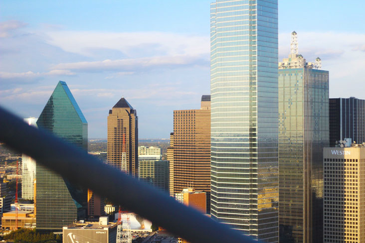 View of downtown Dallas from Wolfgang Puck's Five Sixty restaurant in Reunion Tower.