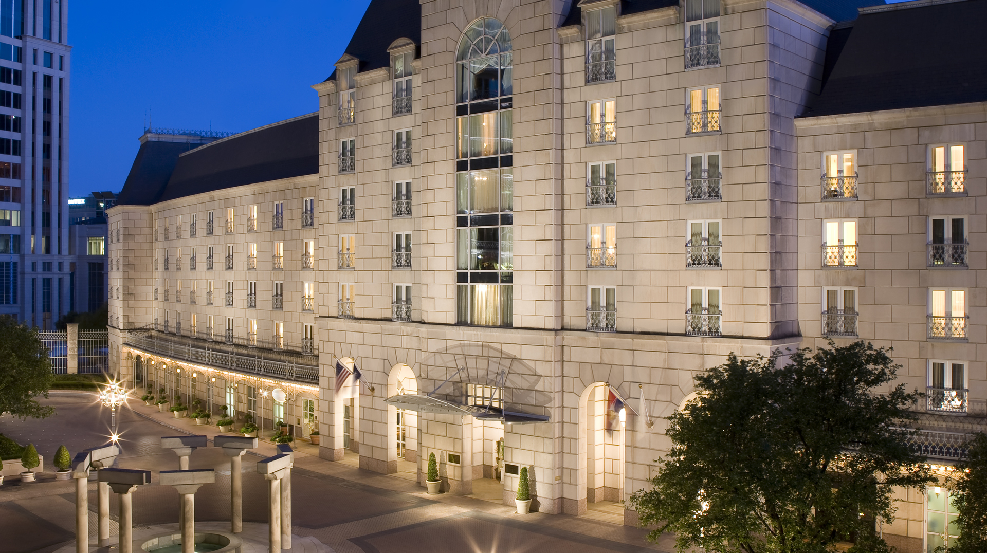 Hotel Crescent Court exterior (evening)