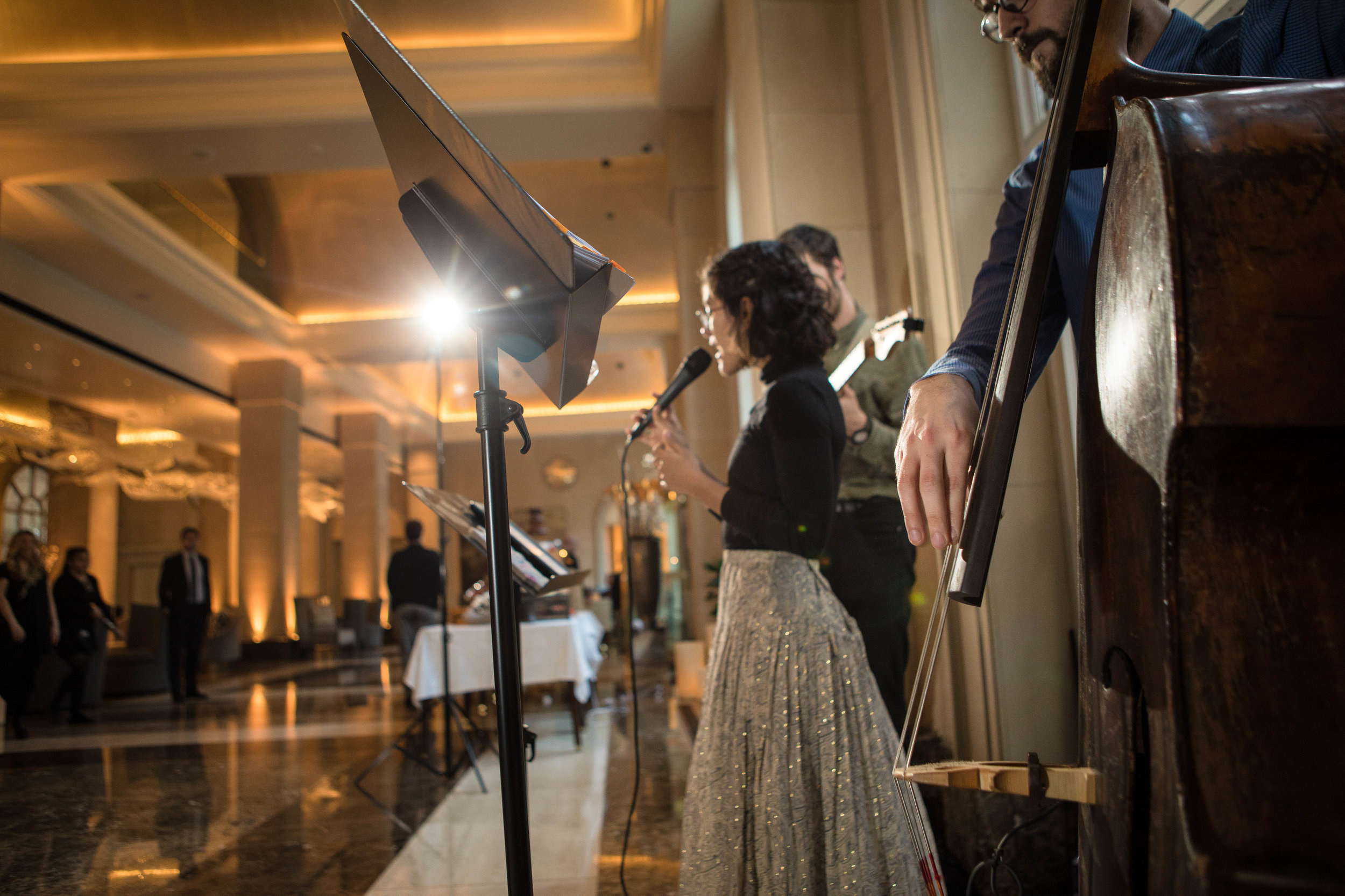 The entire lobby during the Beau Nash grand opening event was filled with conversation, laughs and live vocals.
