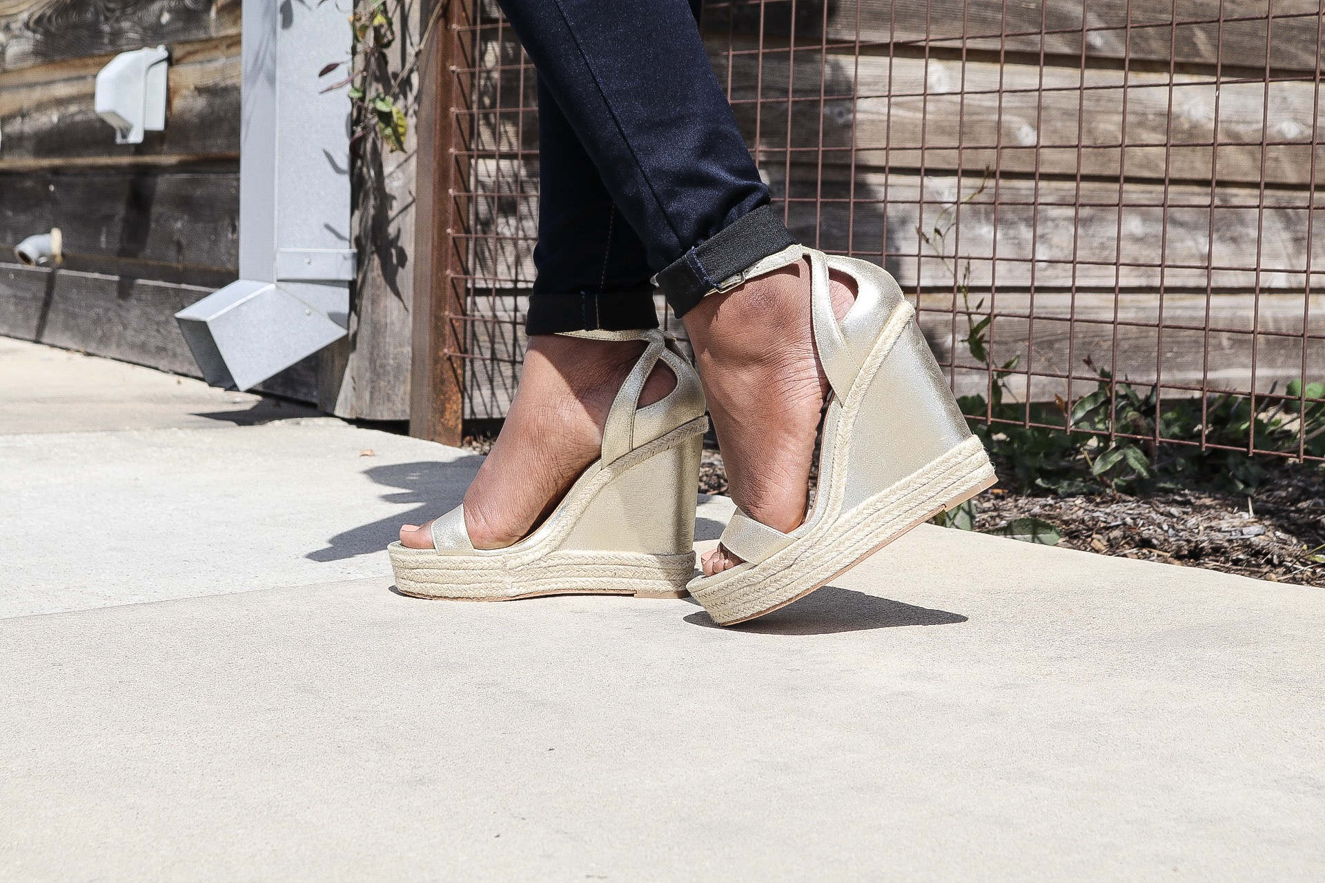 These Badgley Mischka wedges are the cutest with touches of metallic -- literally can be styled with tons of outfits!