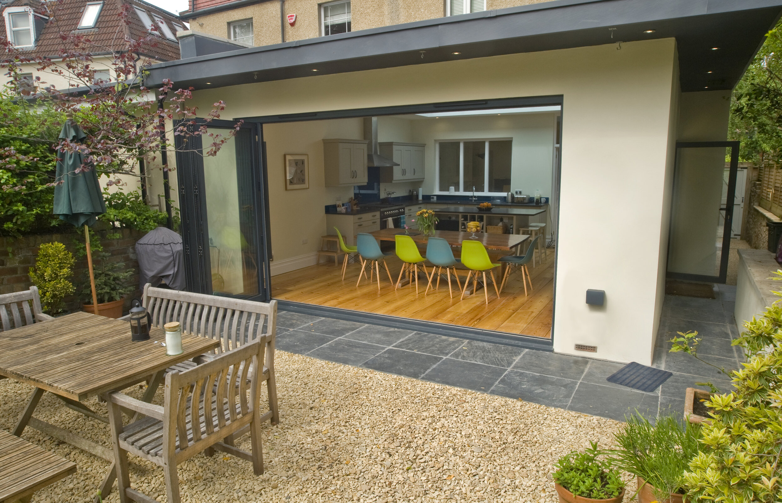 A modern extension with wrap around cantilevered roof
