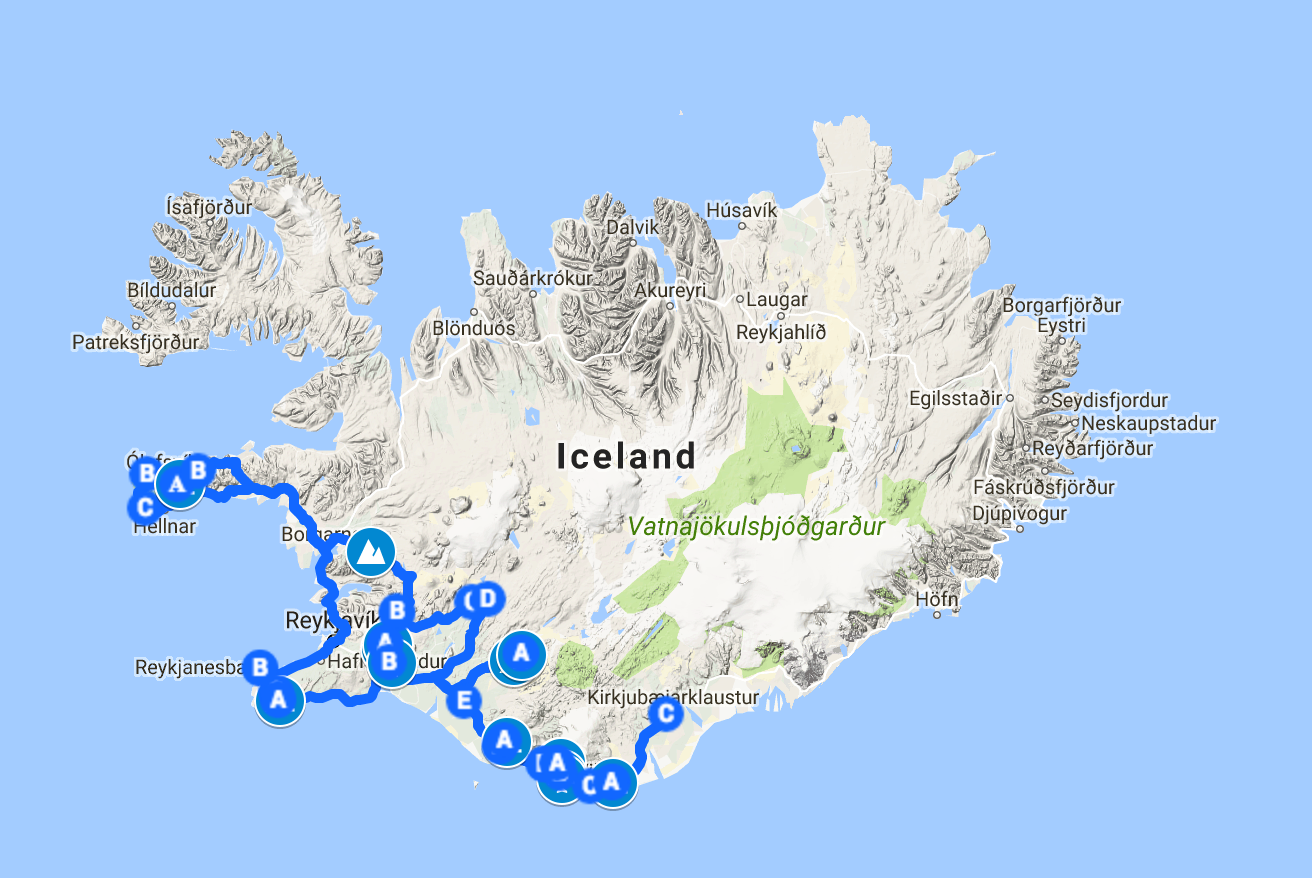 Access Google Maps with the route, camp spots, hikes, places to see etc.  here