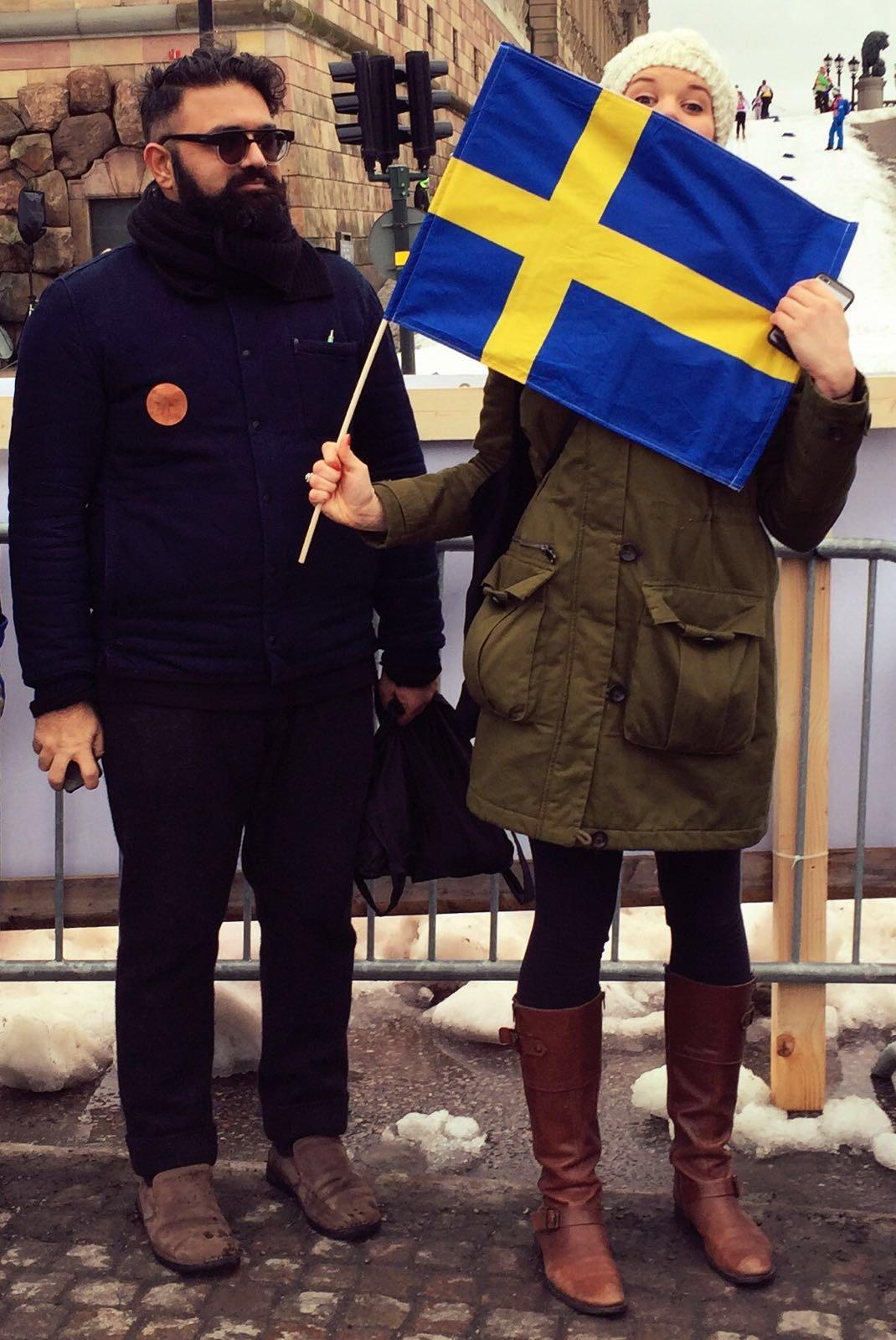 Adnan and I watching Nordic Skiing