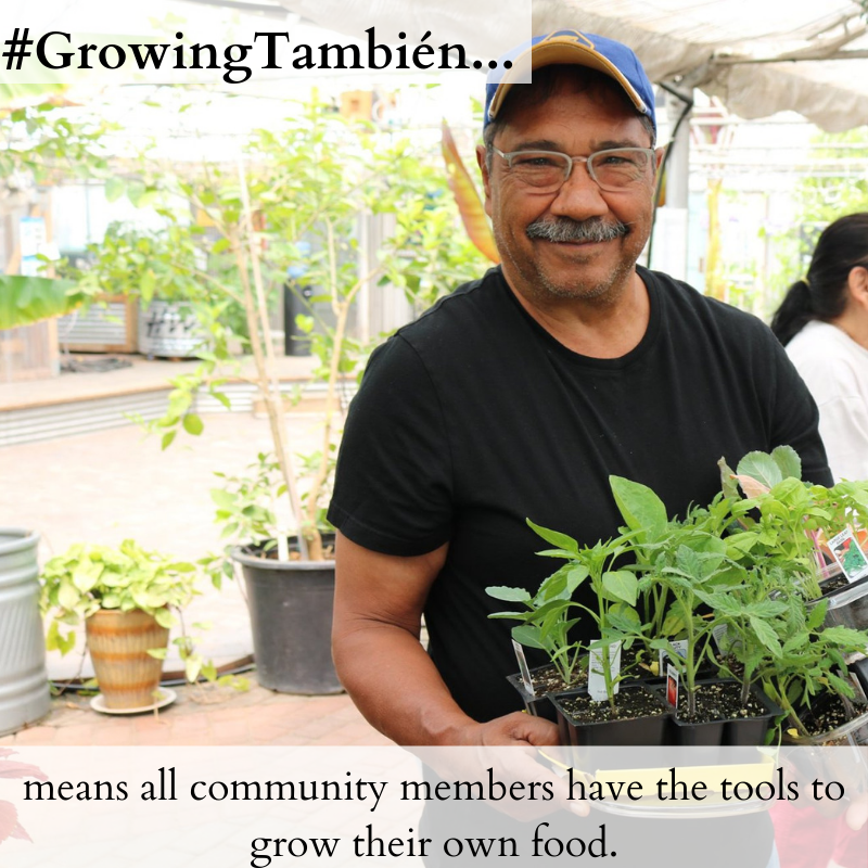 Elias, a frequent visitor to The GrowHaus picking up seedlings for his garden. Elias has attended a number of different classes at The GrowHaus, including our MicroFarm class, which equips community members with the skills and resources to grow their own food.