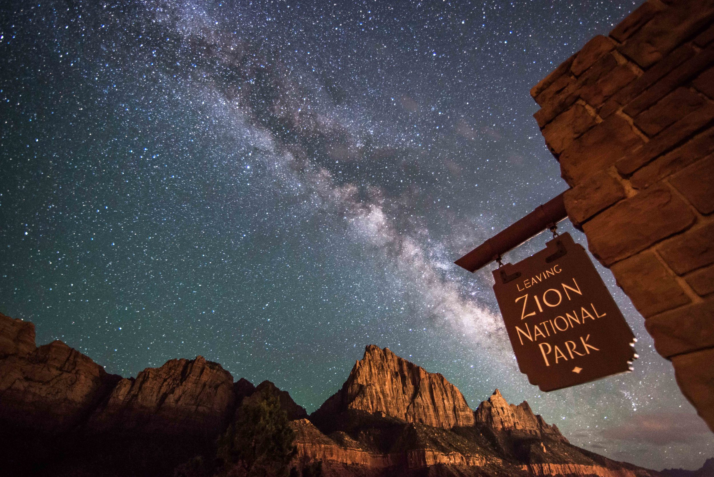 Zion National Park Welcome Sign with Milky Way