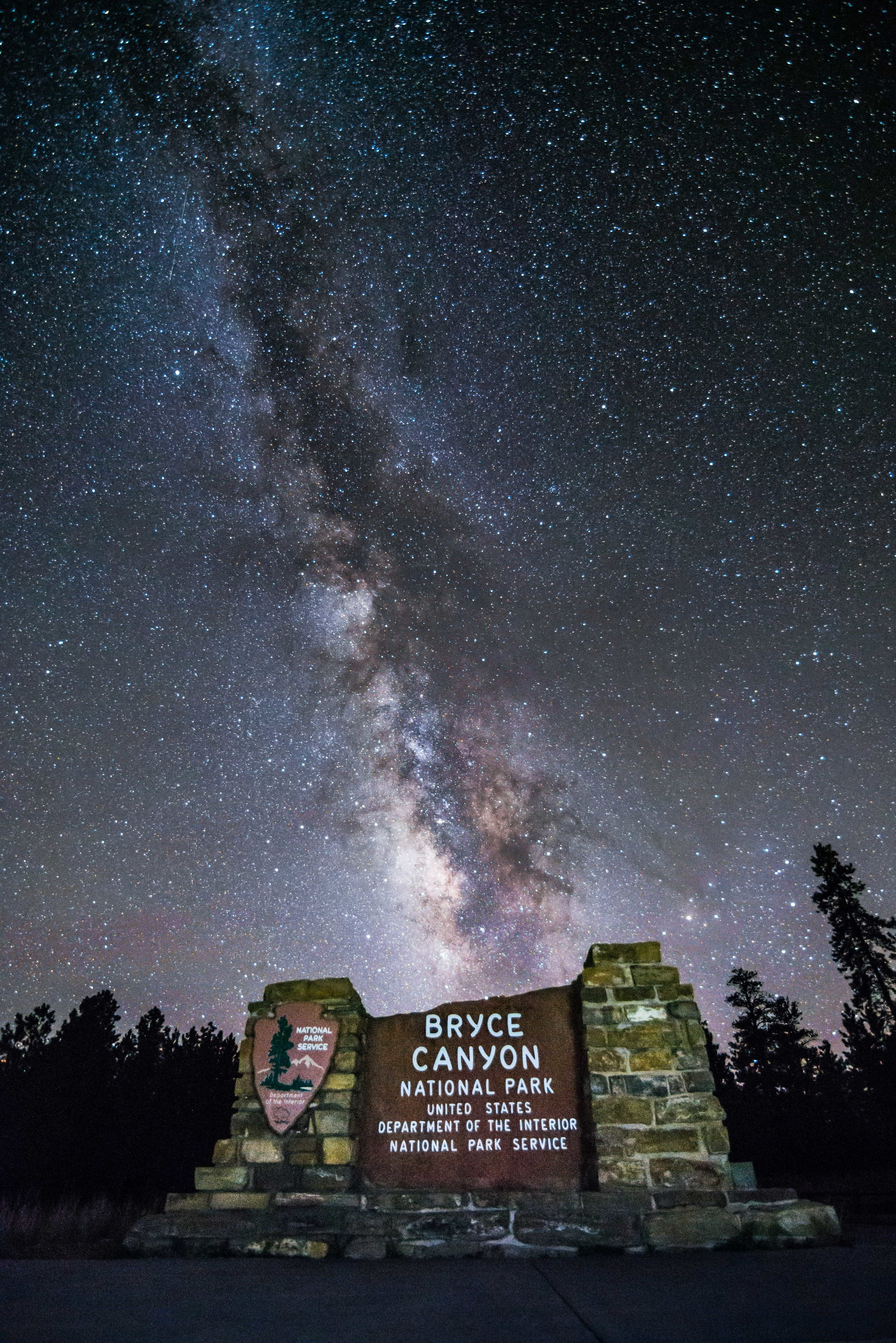 Bryce Canyon National Park Welcome Sign with Milky Way