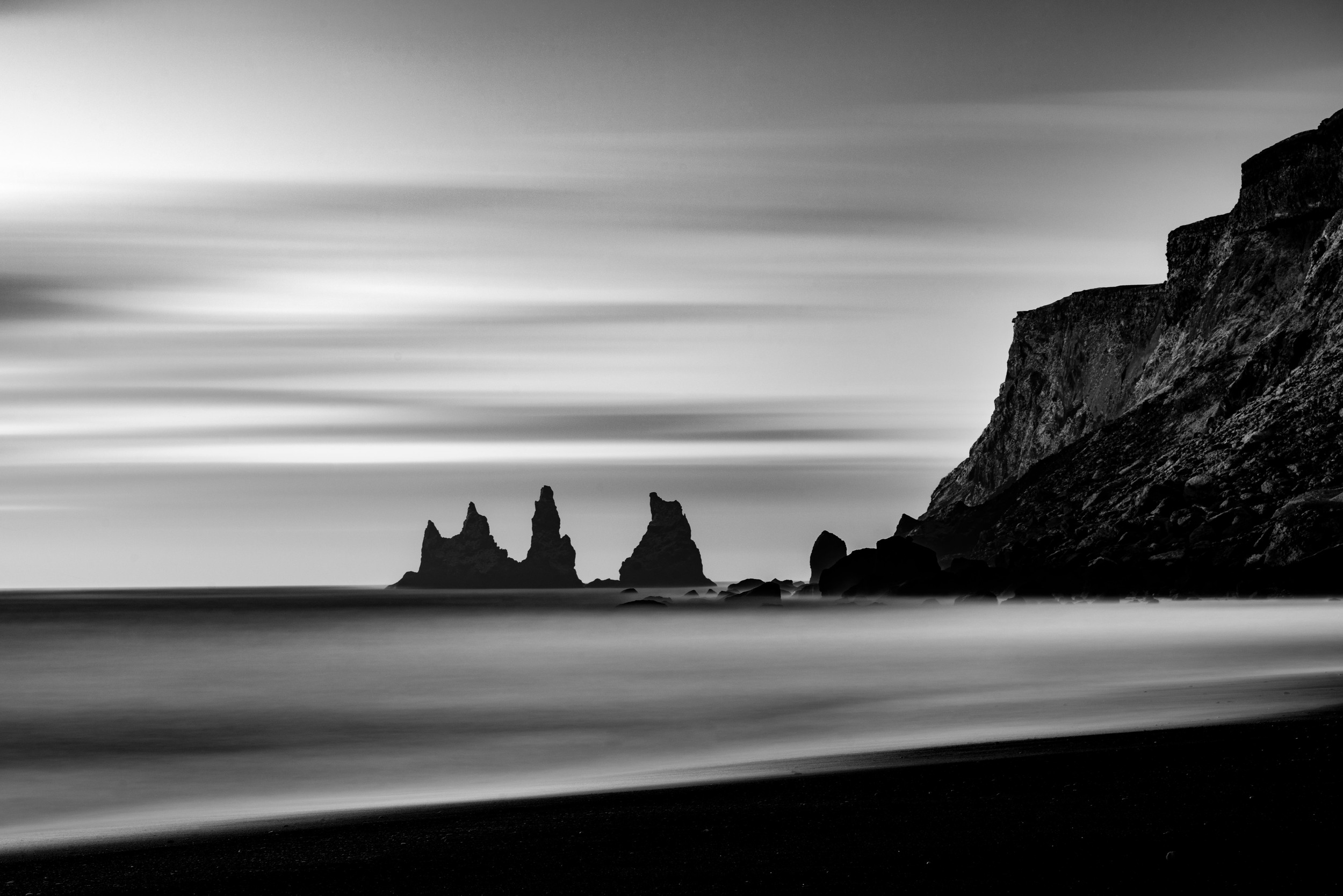 Iceland Sea Stacks in Vik Black and White