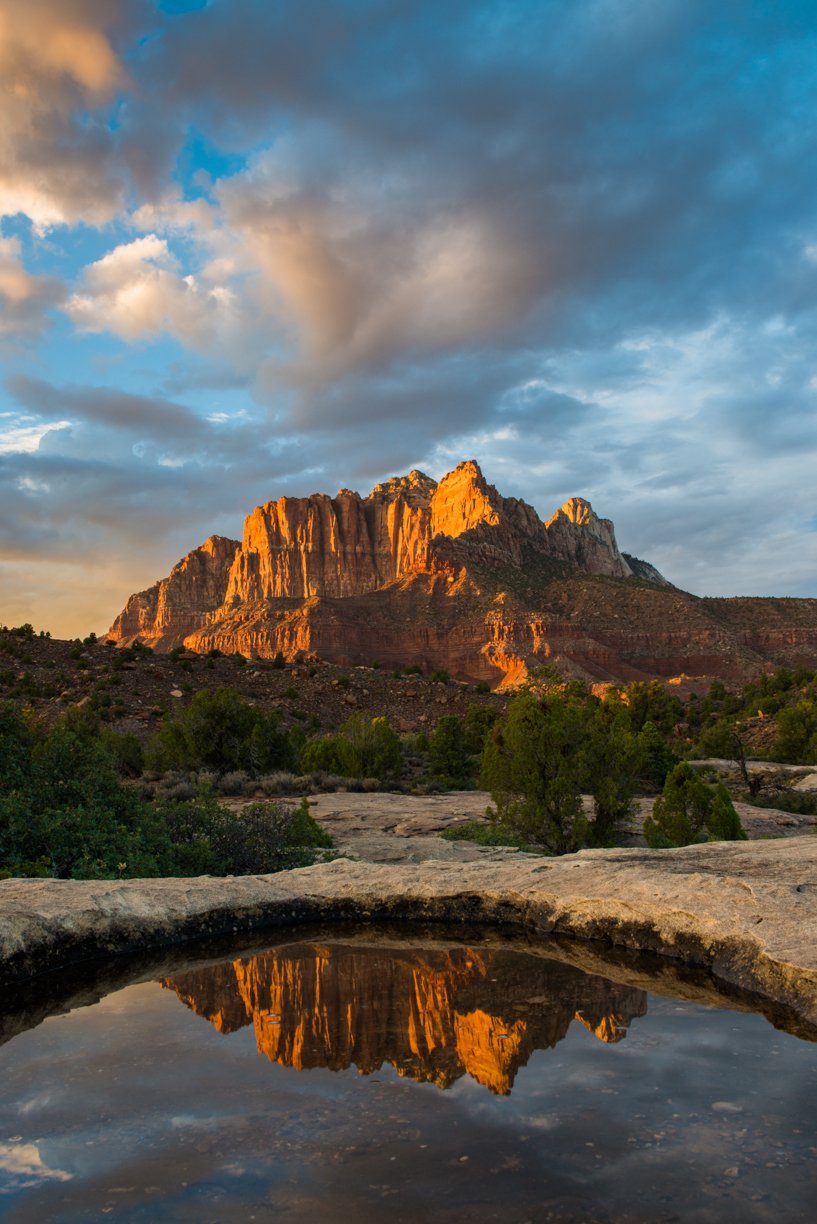Zion at Sunset with Reflection Pool