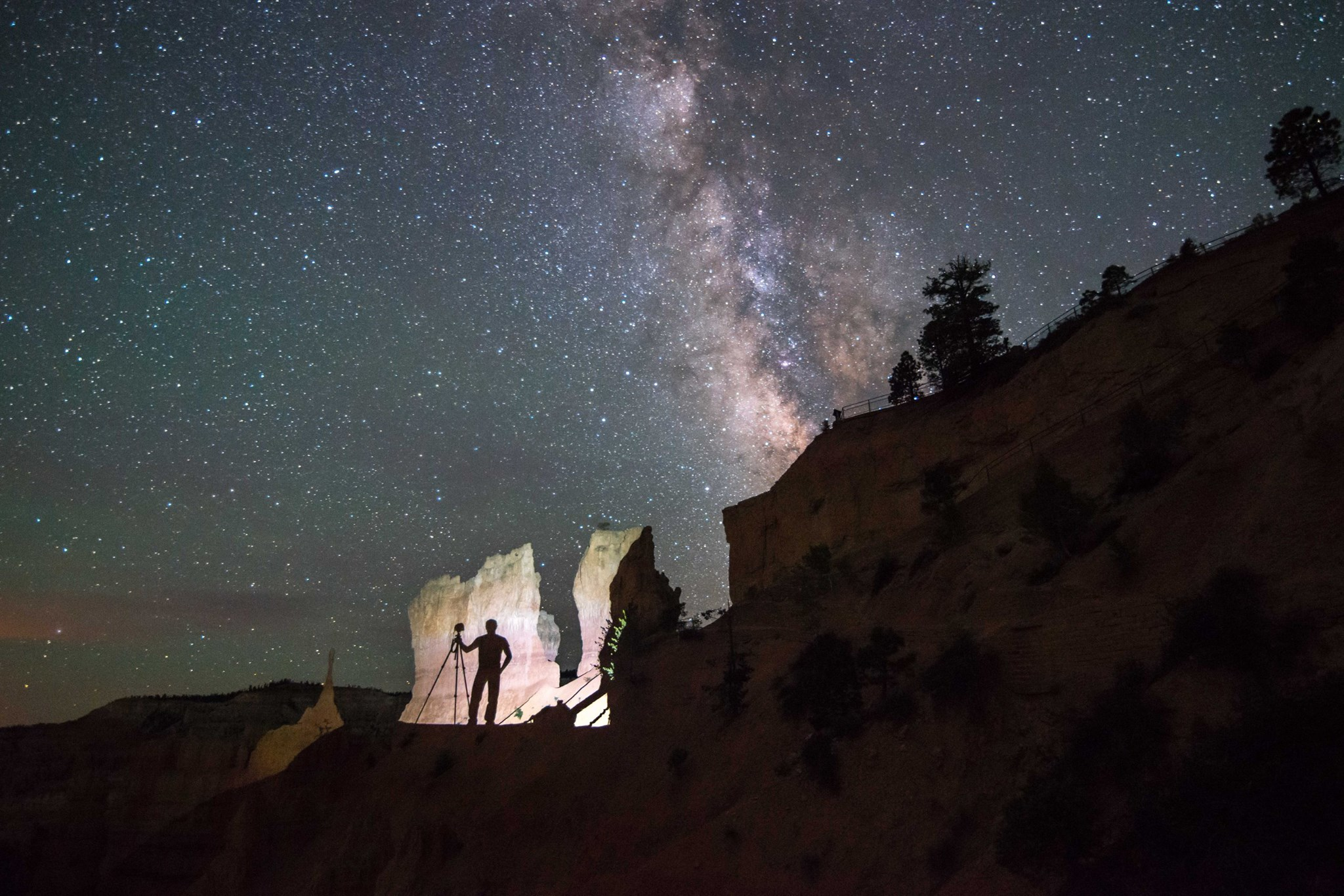 Silhouette Photographer in Bryce Canyon with Milky Way