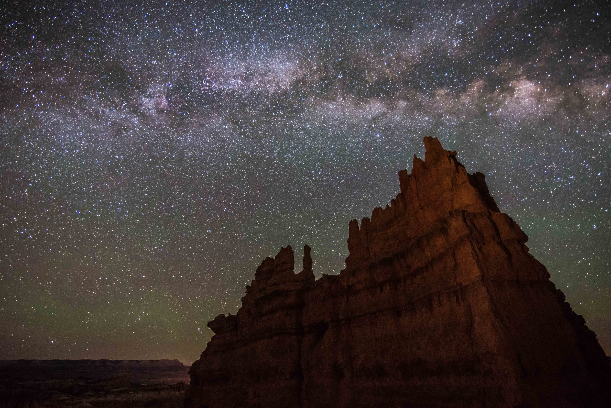 Hoodoo Formation in Bryce Canyon National Park at Night