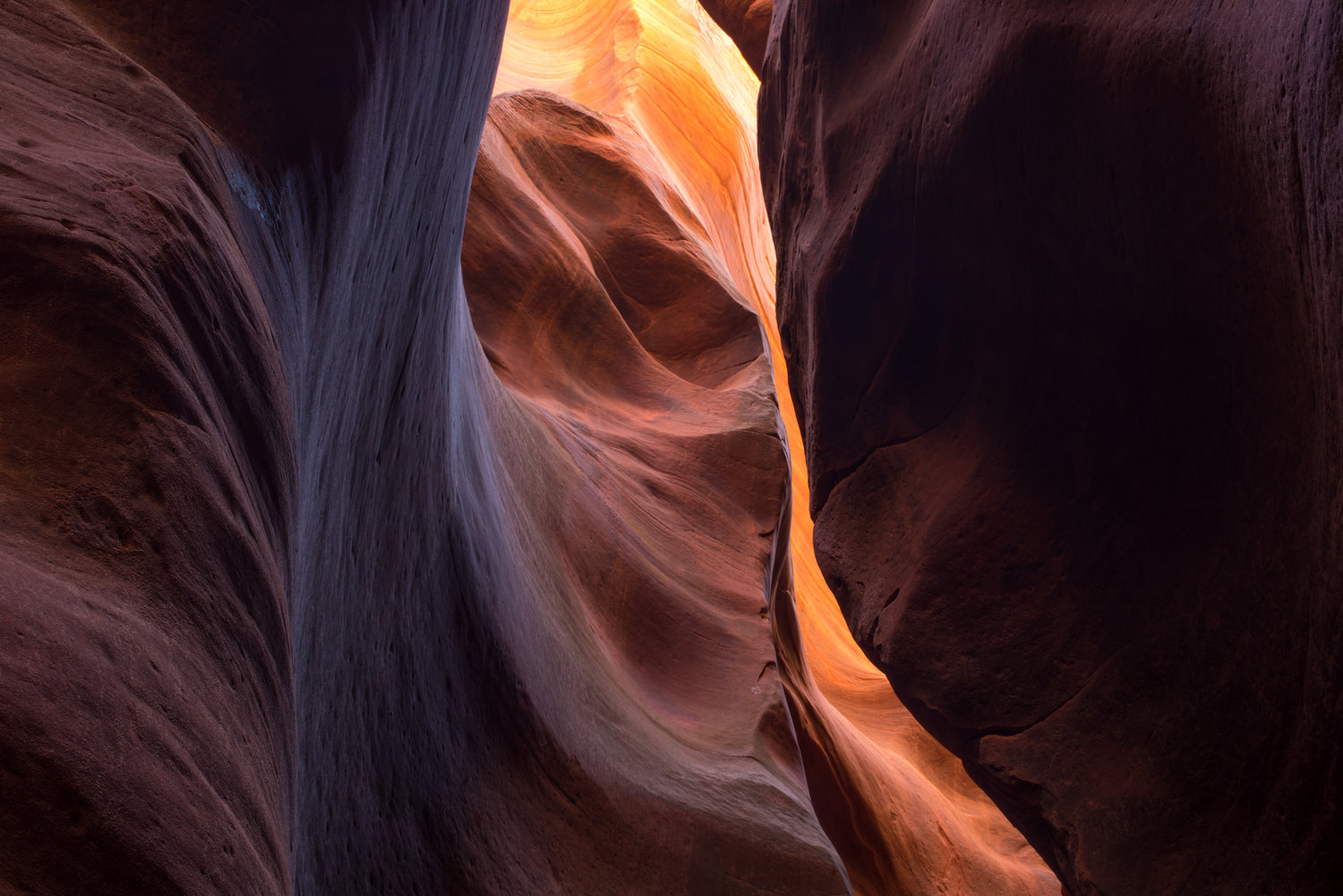 Slot Canyon in Southern Utah with Reflected Light