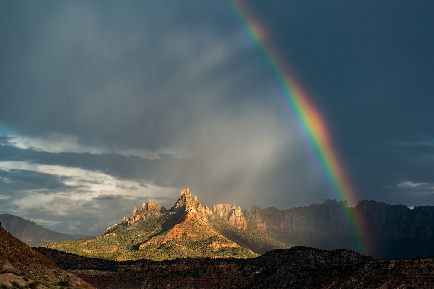 Eagle Crags in Zion with Monsoon and Rainbow