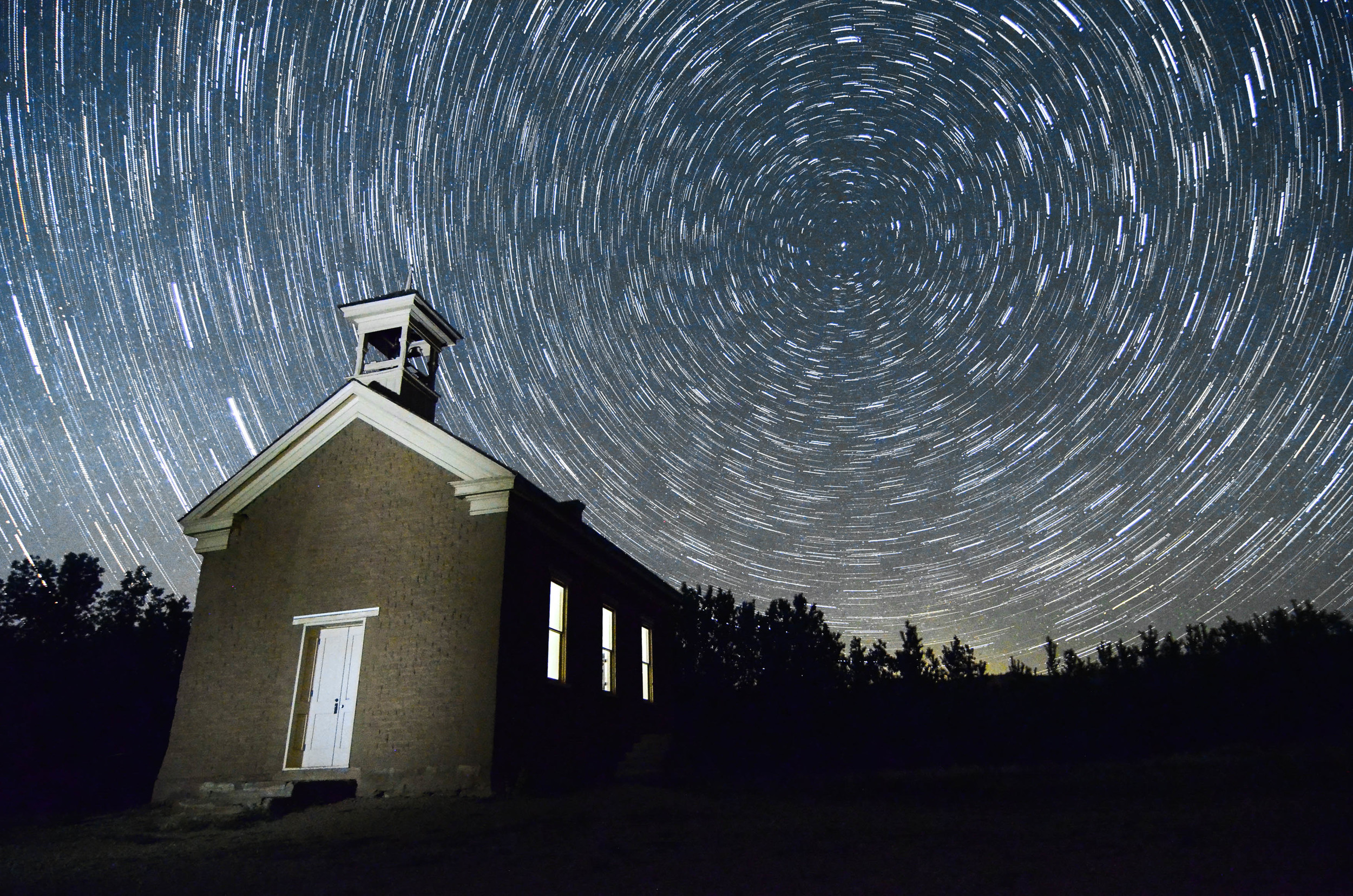 Abandoned Church near Zion with Star Trails