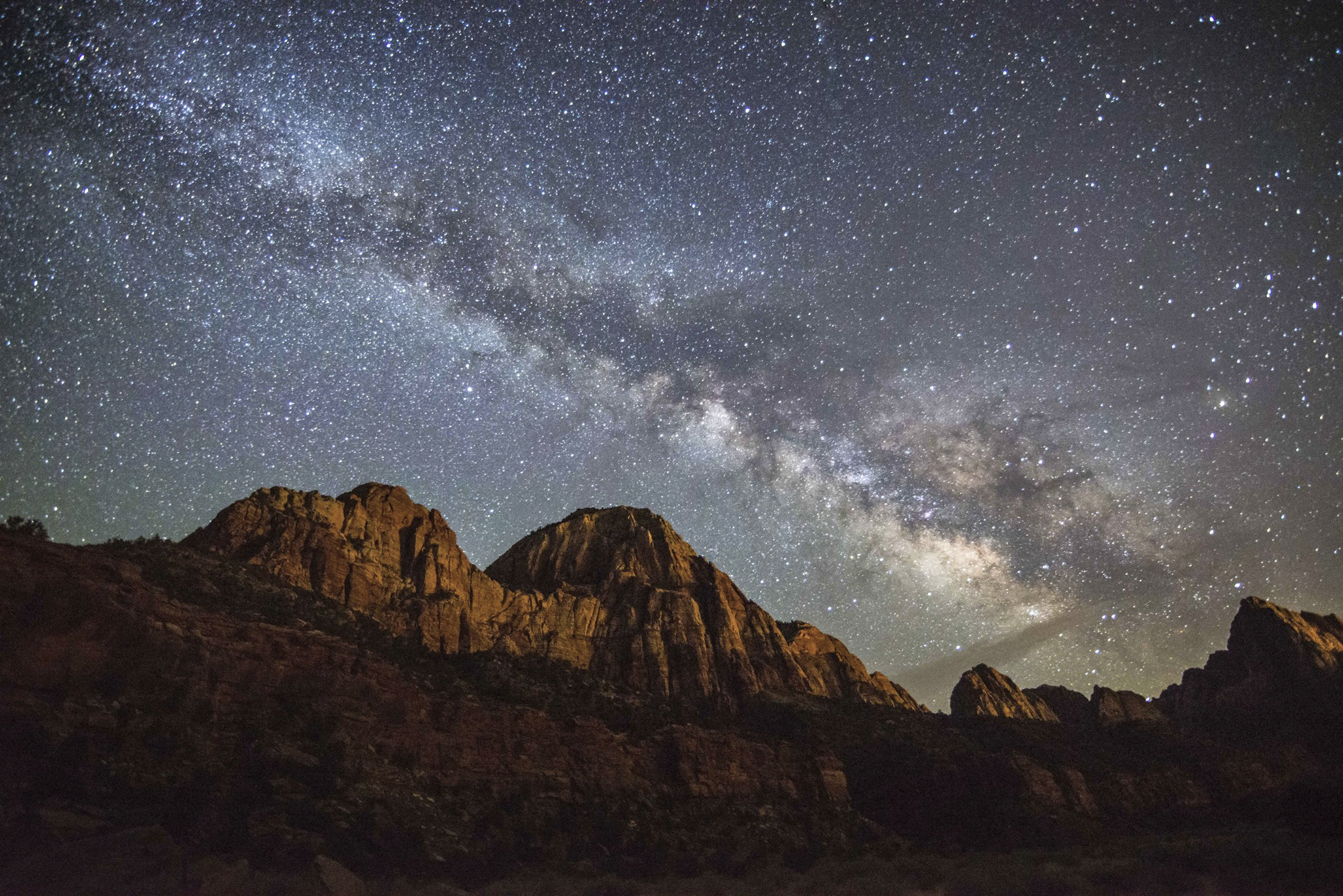 Zion Canyon at Night with Milky Way
