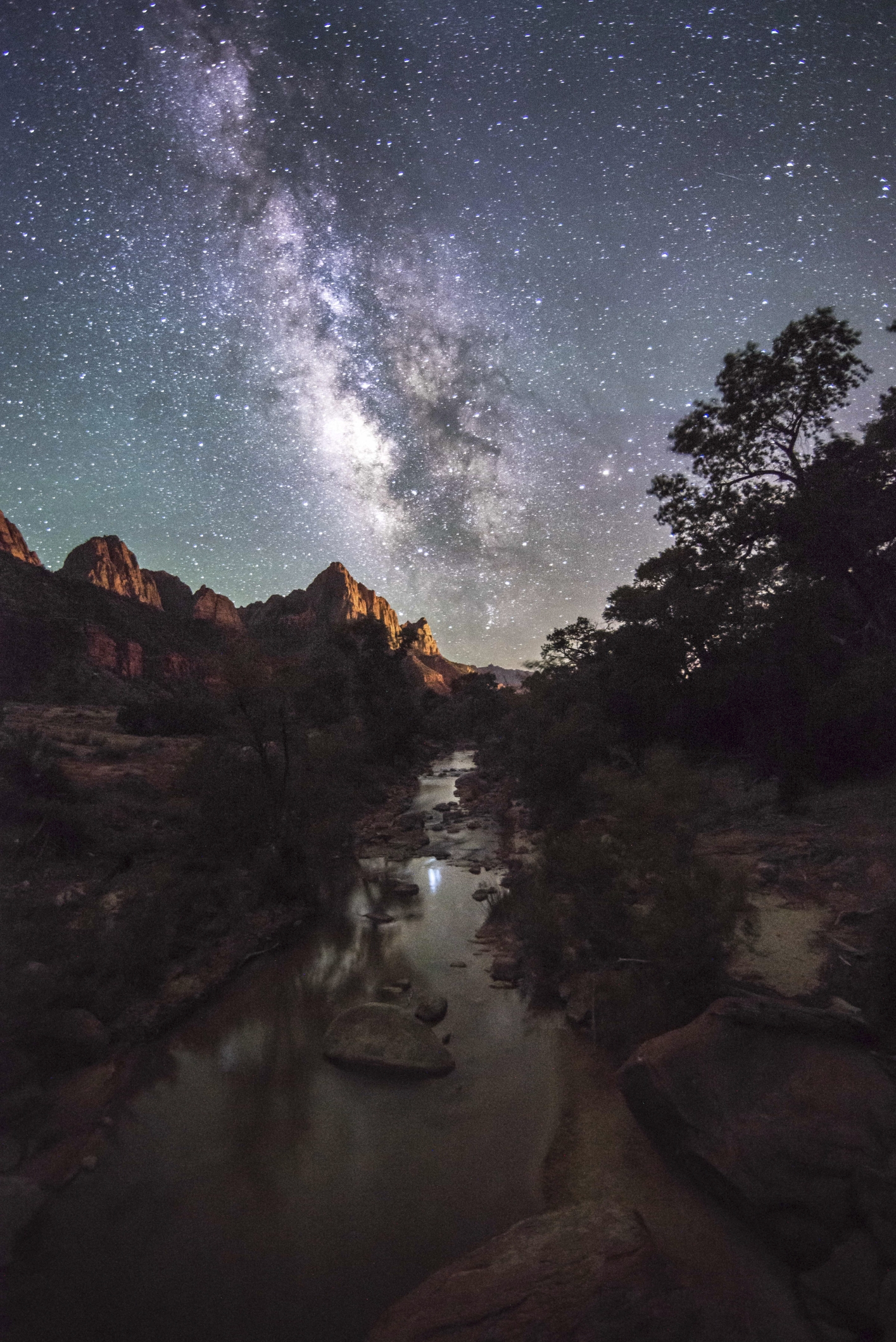 The Watchman of Zion with Milky Way Galaxy and Virgin River