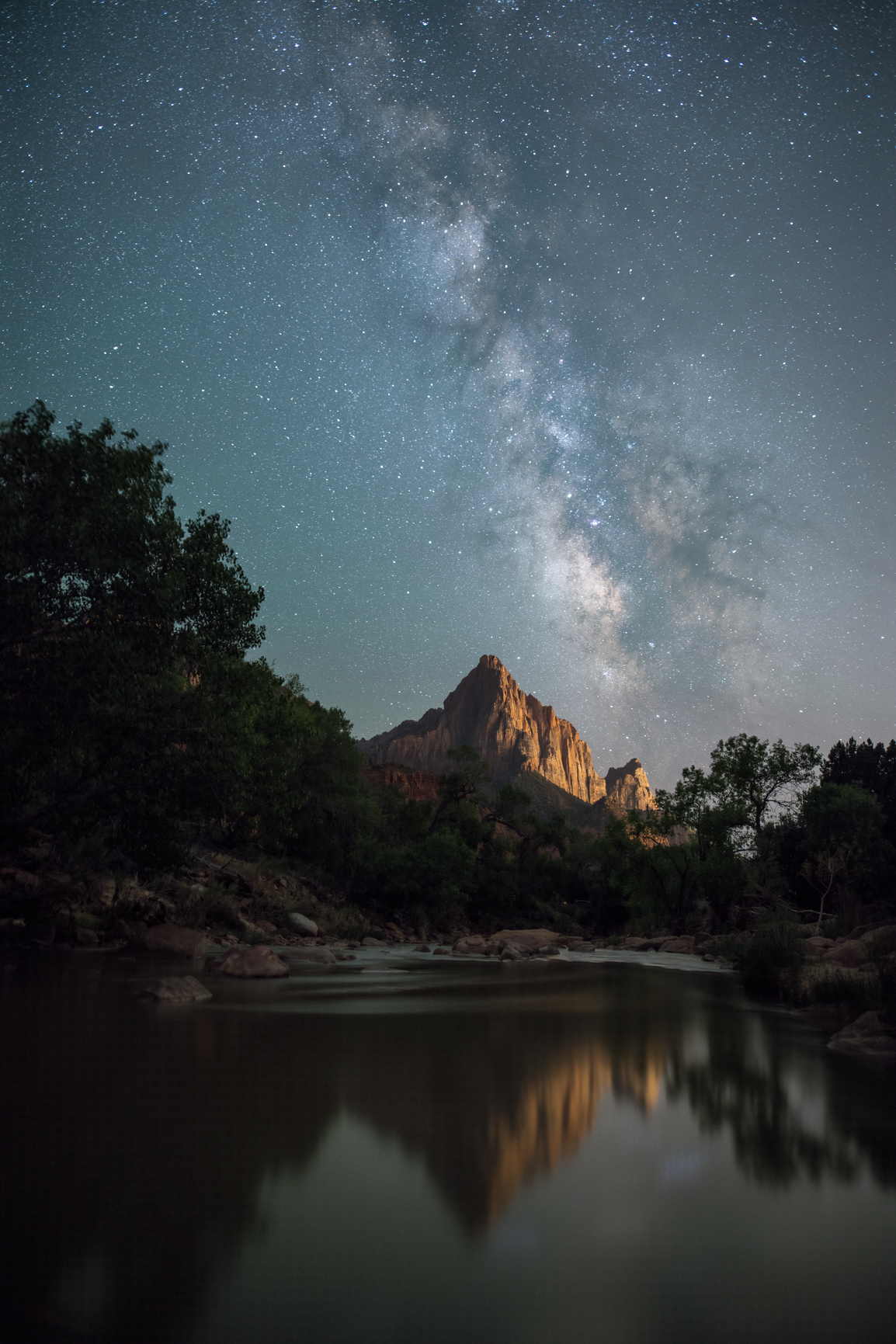 The Watchman of Zion with Milky Way Galaxy Reflection