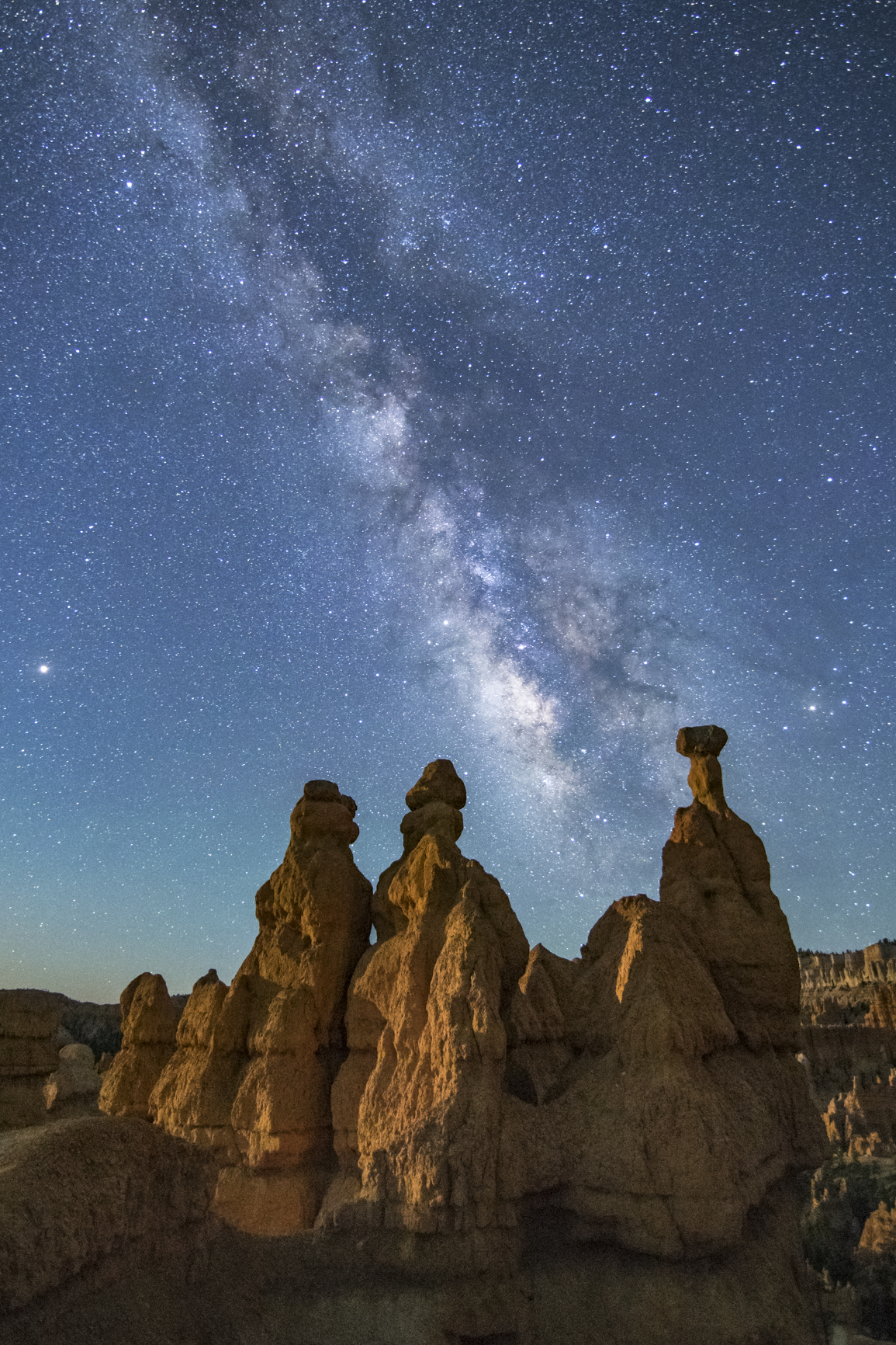 Hoodoo Formations with Moonlight and Milky Way in Bryce