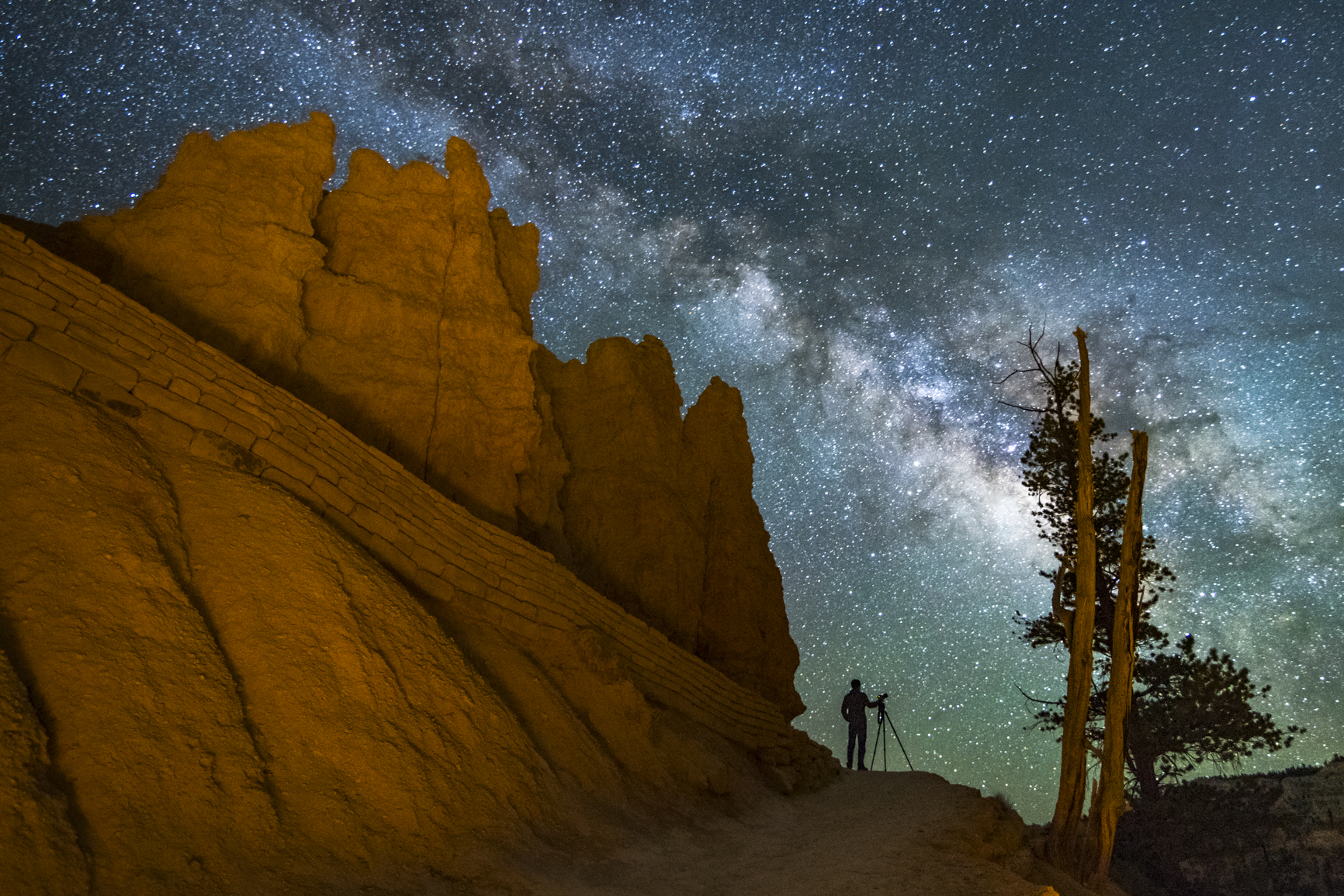Bryce National Park with Silhouette and Milky Way