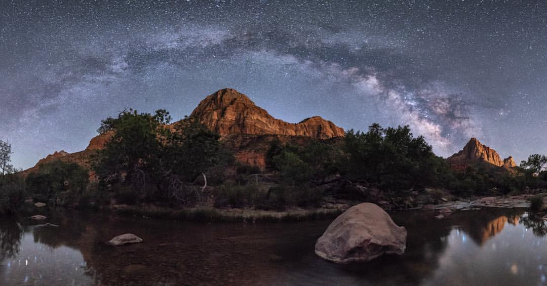 Zion Canyon National Park with Arching Milky Way