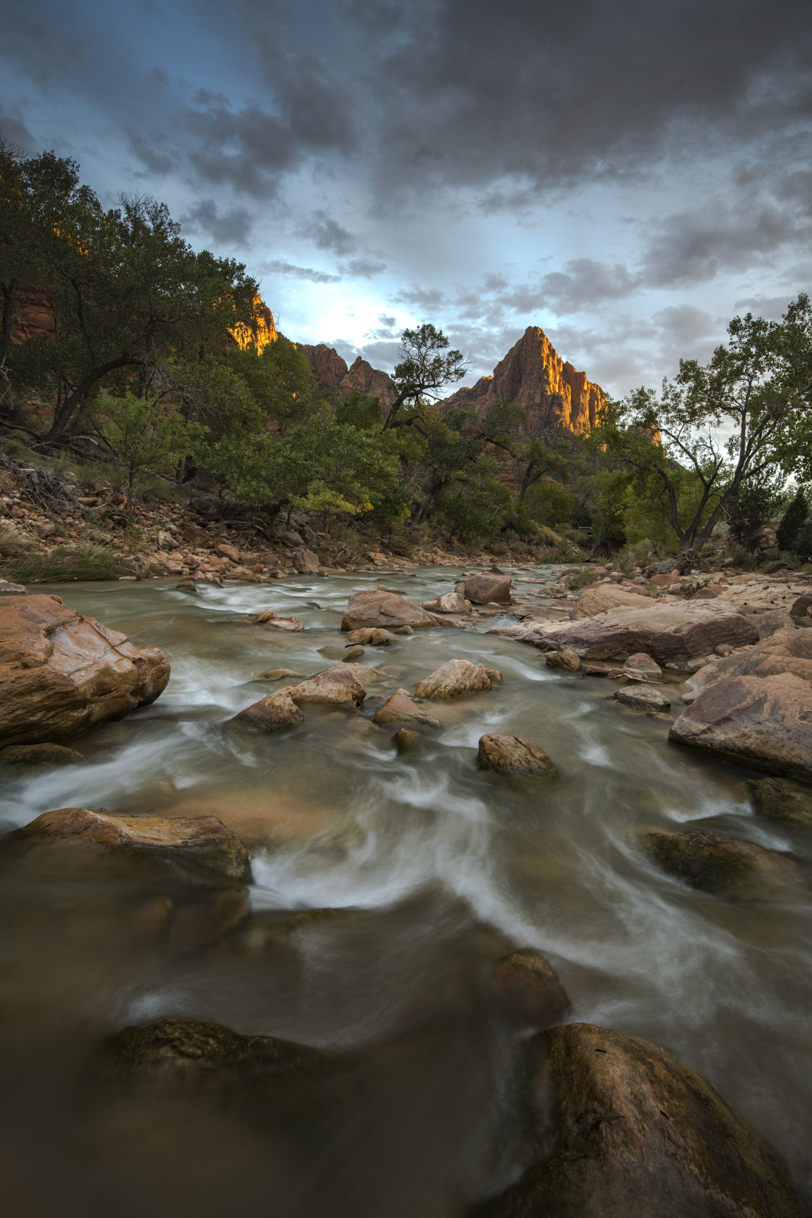 Zion Watchman and Virgin River at Sunset