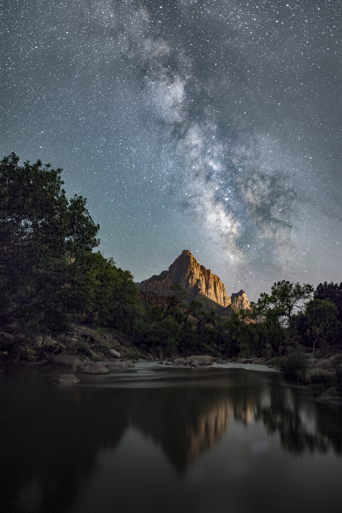 Watchman of Zion with Milky Way and Reflection