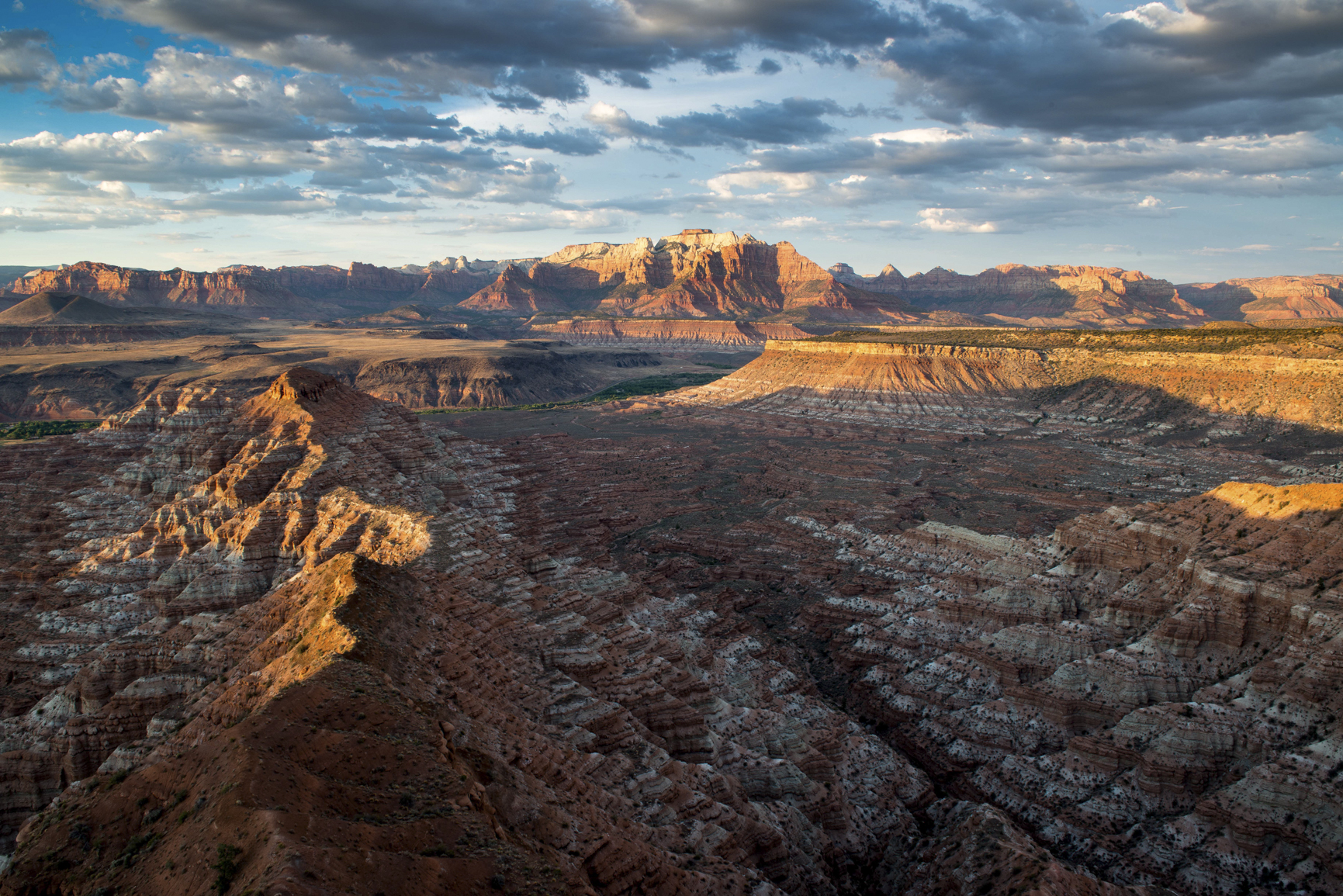 Mesa and Canyon Near Zion During Golden Hour