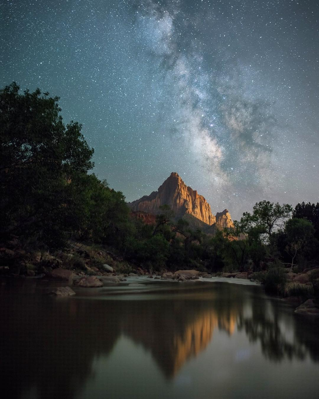Zion Night Photo with the Watchman and Milkyway Reflection