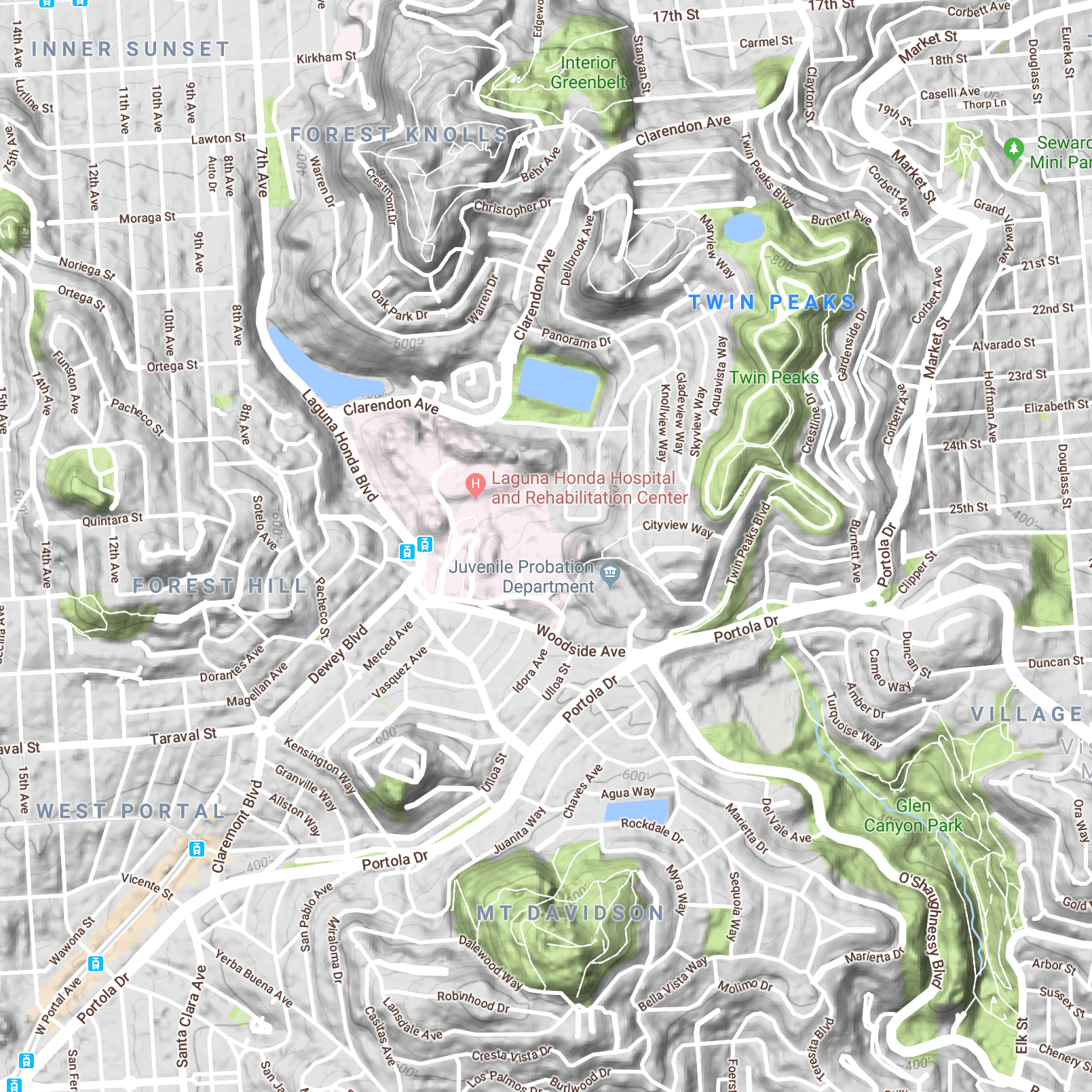 Good to know. (A topographical map of parts of San Francisco, courtesy of Google maps.)