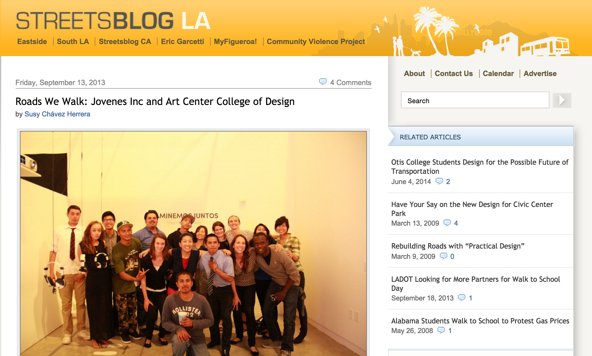 LA Streets Blog  Roads We Walk: Jovenes Inc and Art Center College of Design